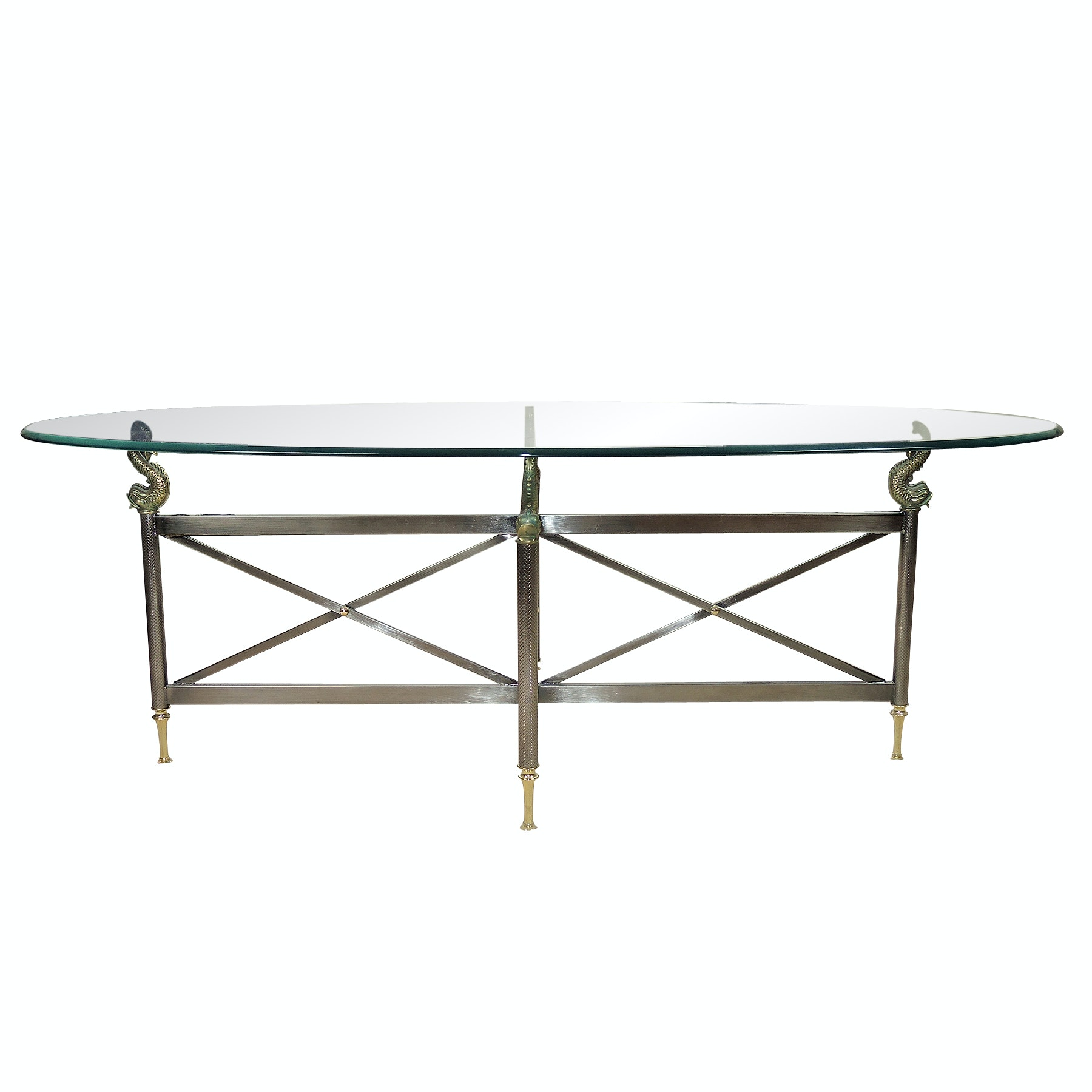 Oval Glass and Metal Coffee Table with Dolphin Accents