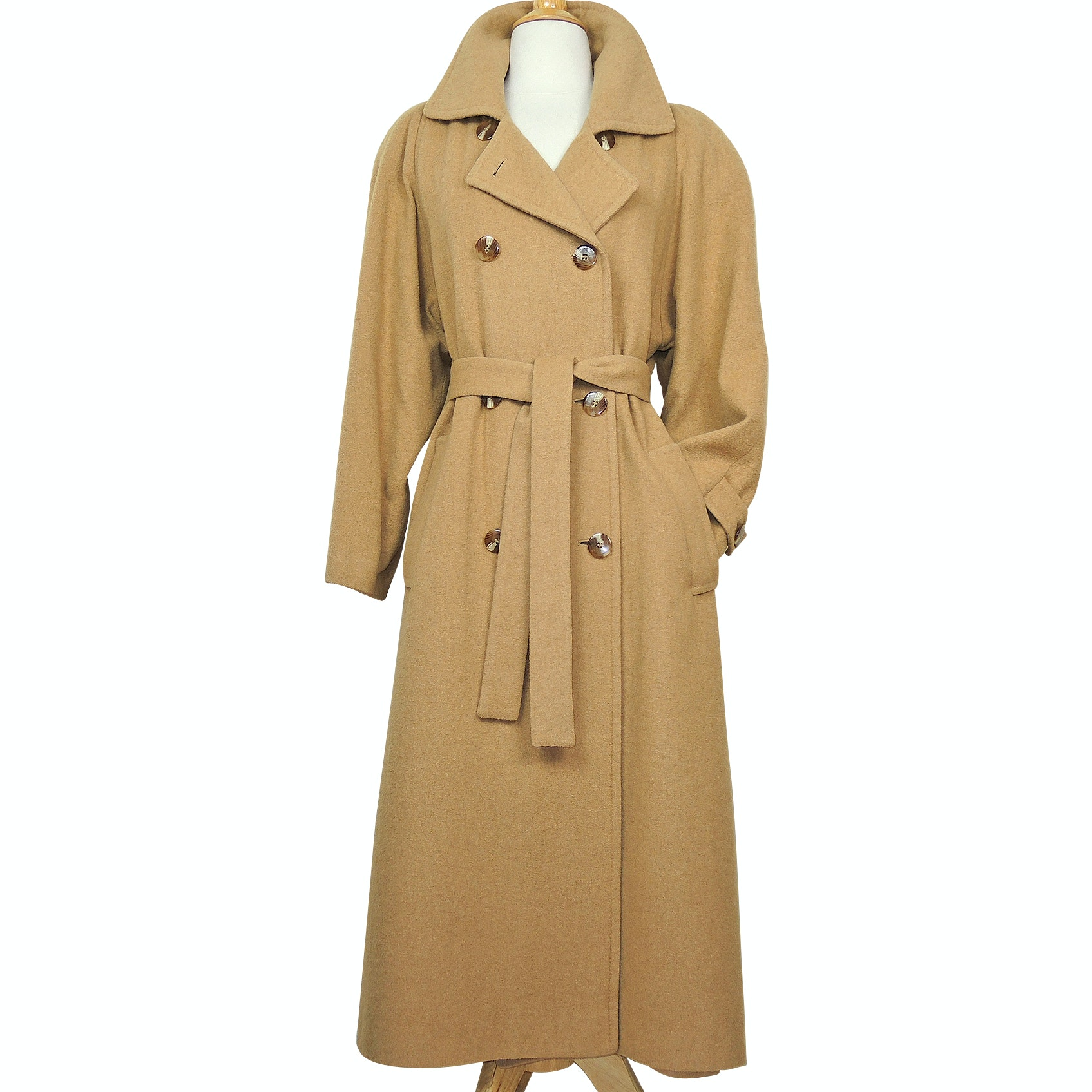 Womens Vintage Fleurette of California Camel Hair Double-Breasted Coat from Saks