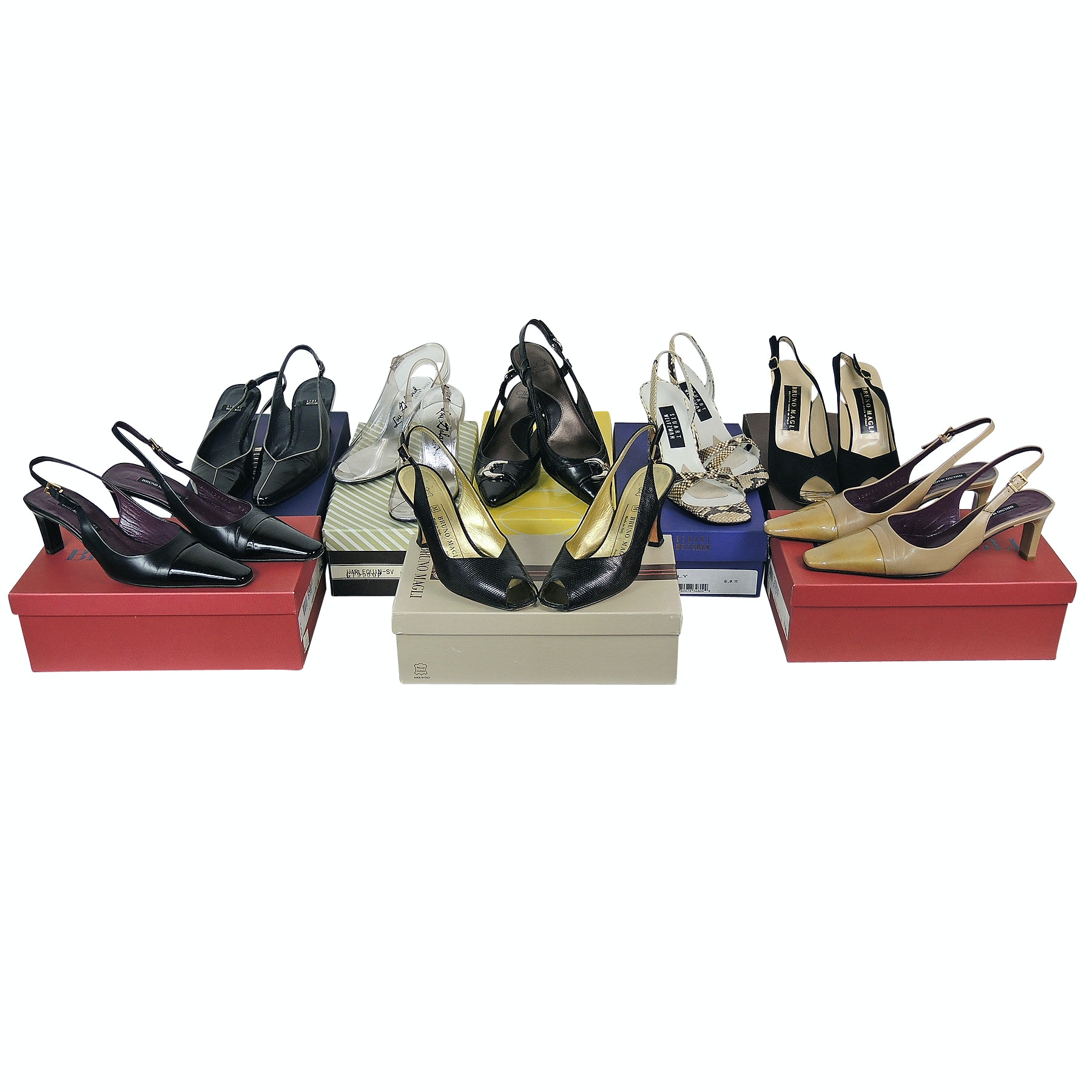 Collection of Slingbacks and Peep-Toes Including Bruno Magli and Stuart Weitzman