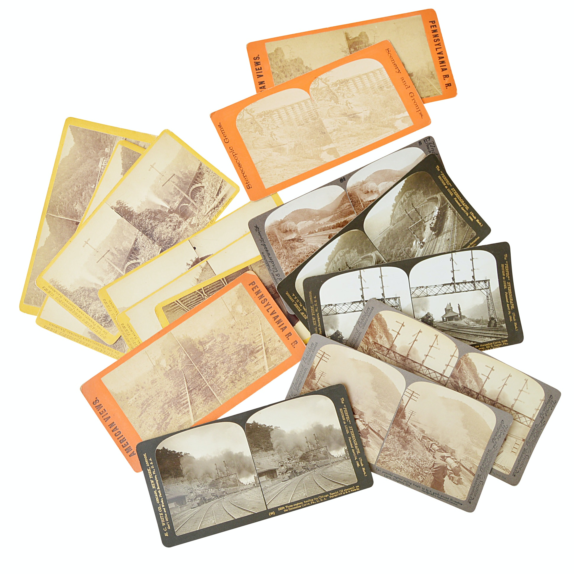 Vintage Stereoscopic Cards with Railway Themes