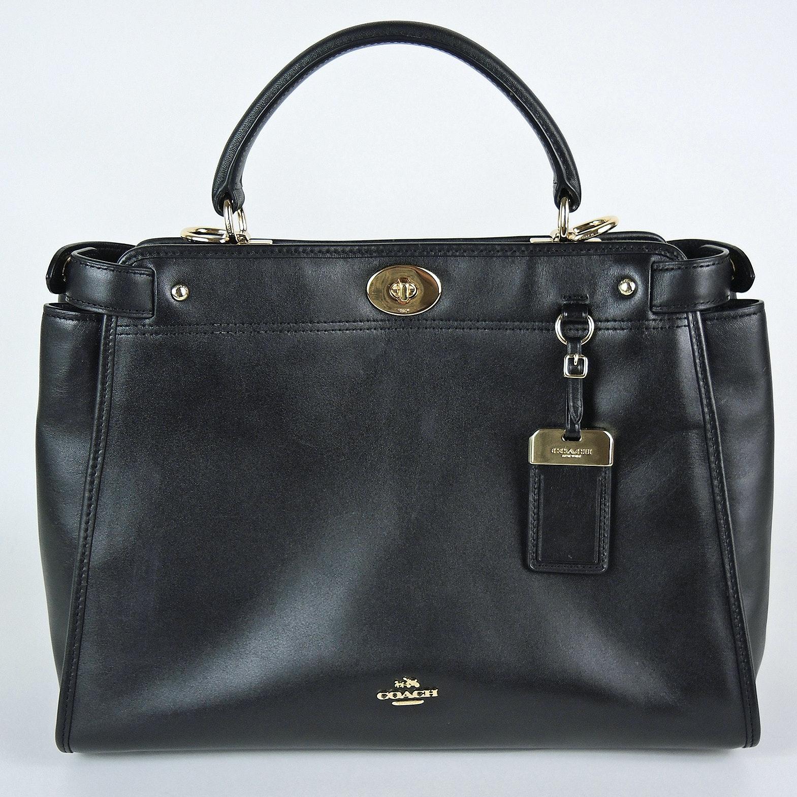 Coach Gramercy Black Leather Satchel with Box