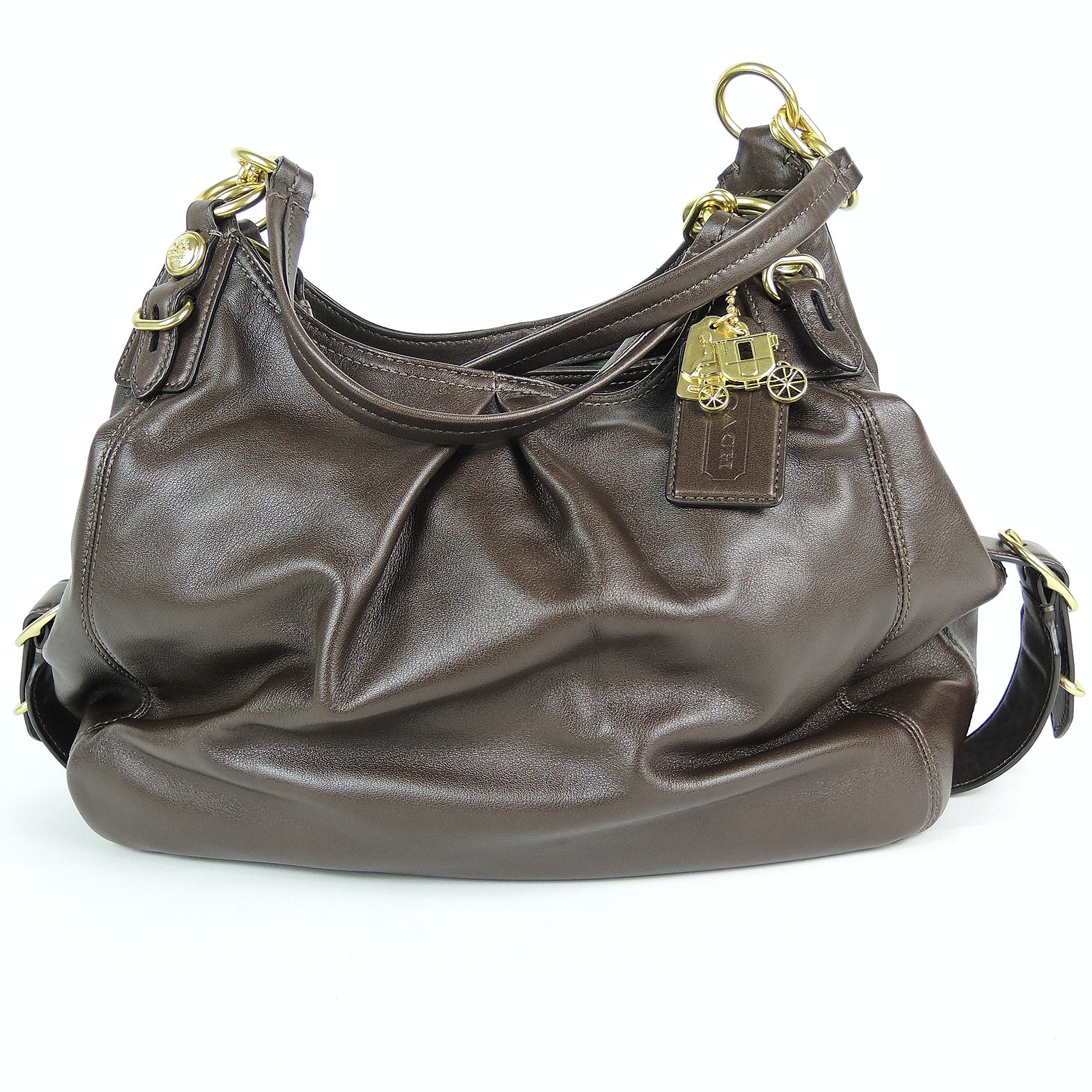 Coach Maggie Madison Mia Brown Leather Shoulder Bag