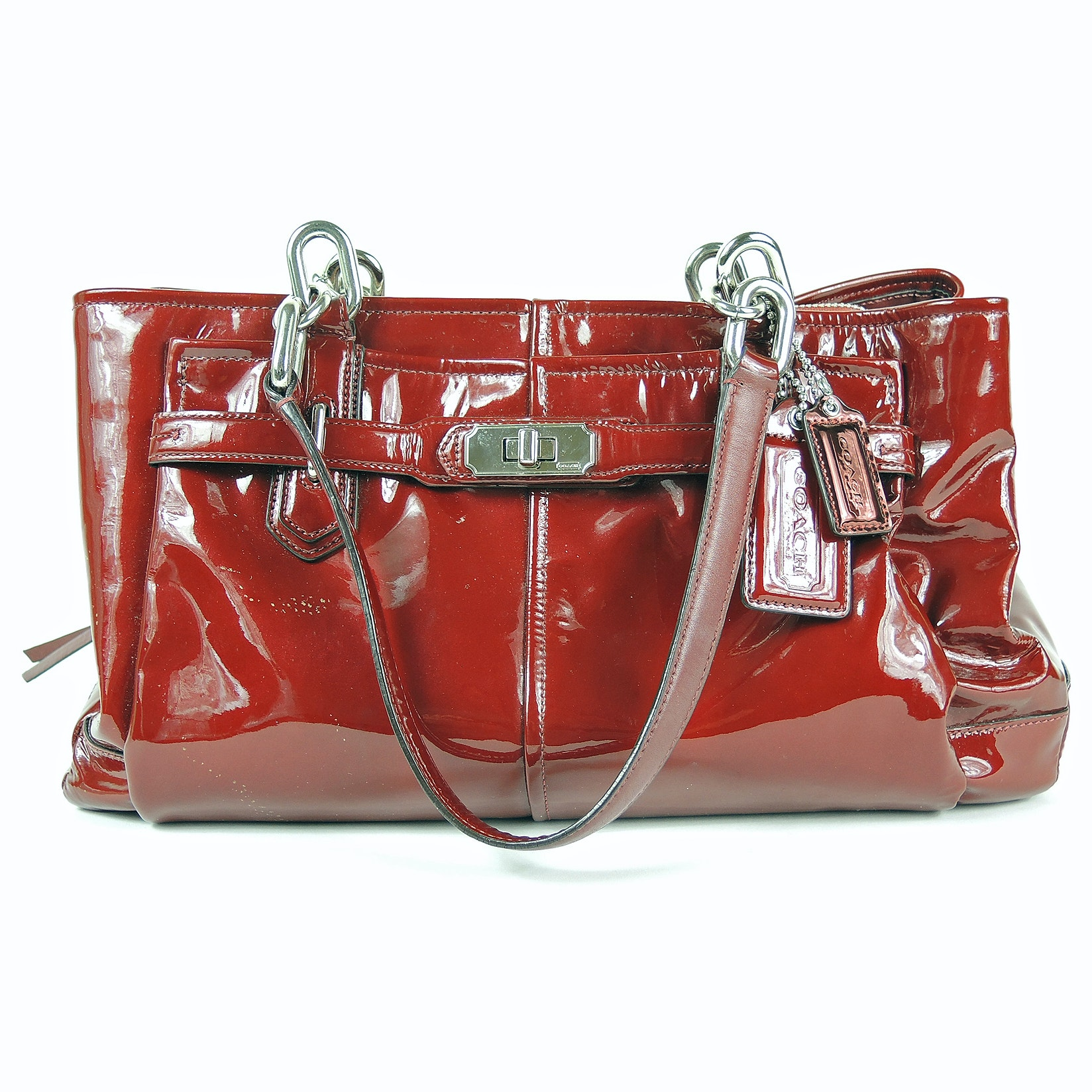 Coach Chelsea Jayden East West Red Patent Leather Carryall Satchel