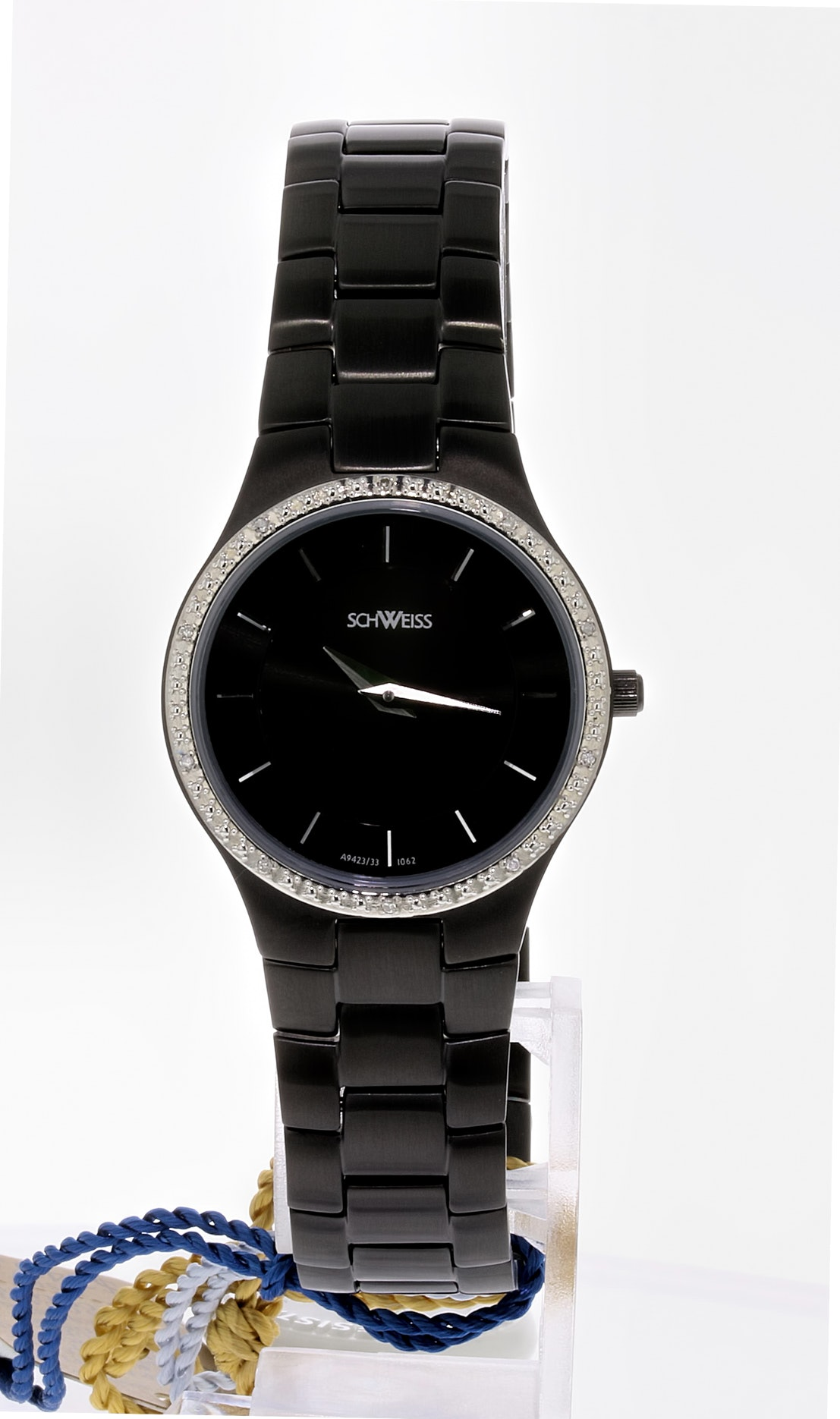 Schweiss Diamond and Black Ion Plated Stainless Steel Wristwatch