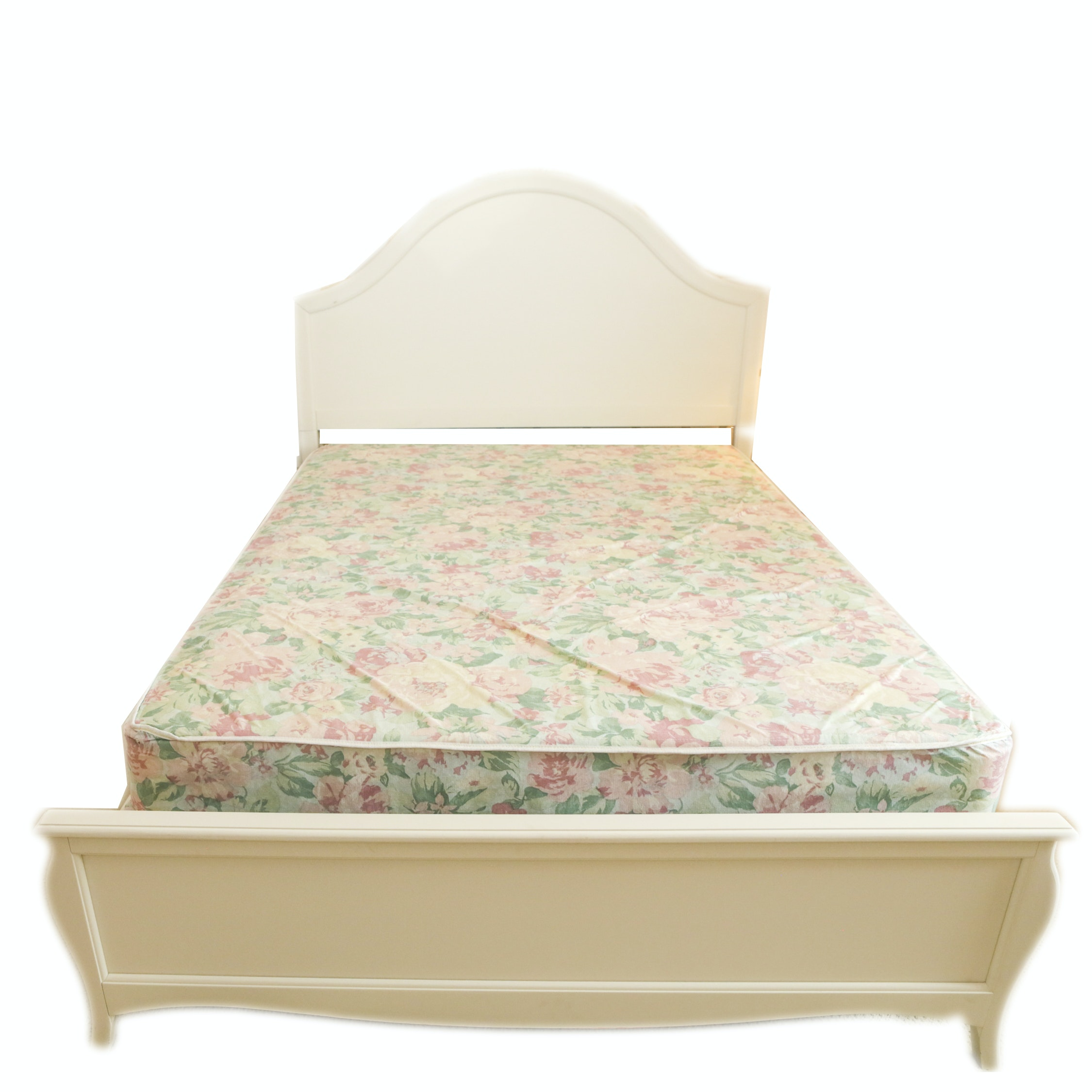 Contemporary White Painted Full Size Bed Frame