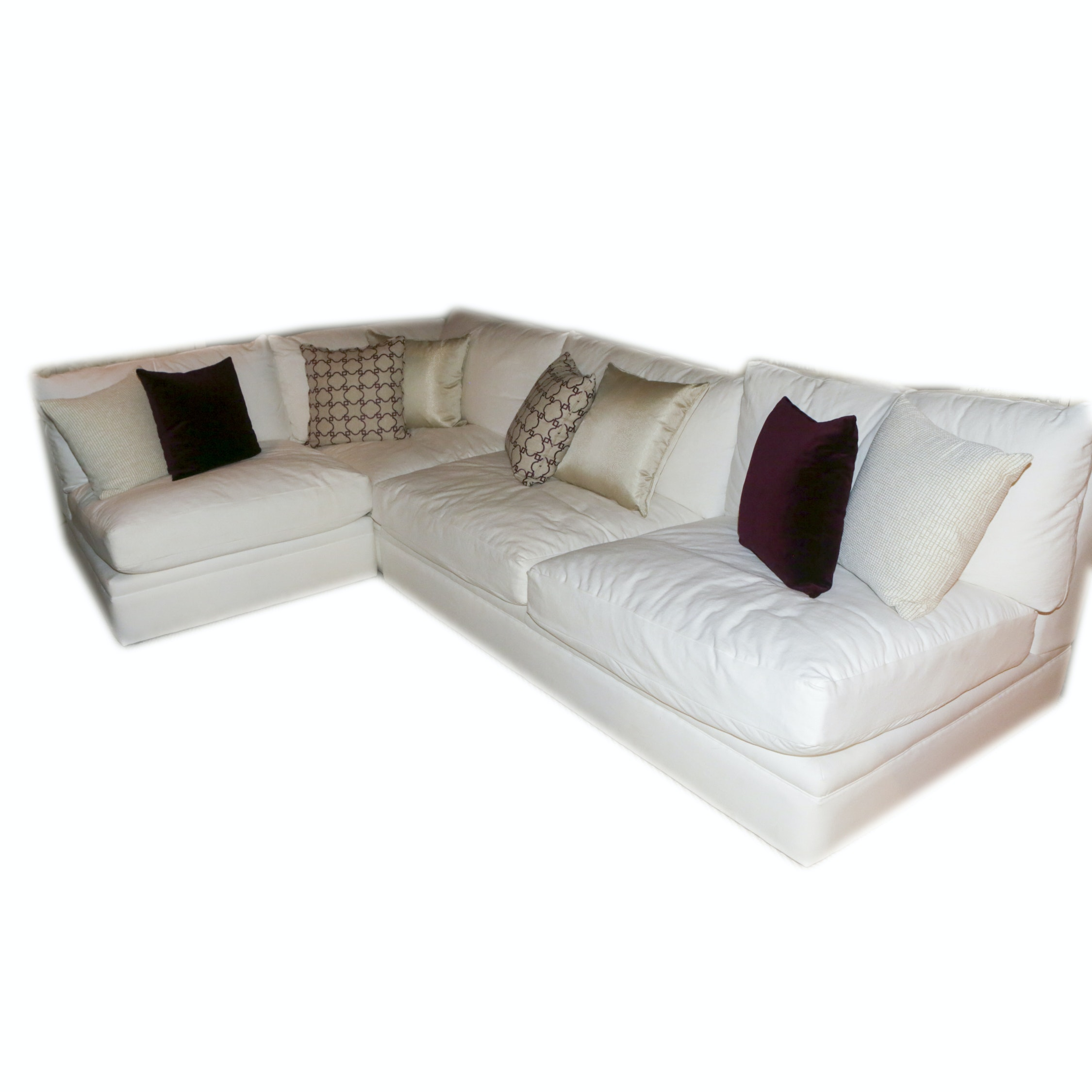 Contemporary White Upholstered Sectional Sofa by Distinctions