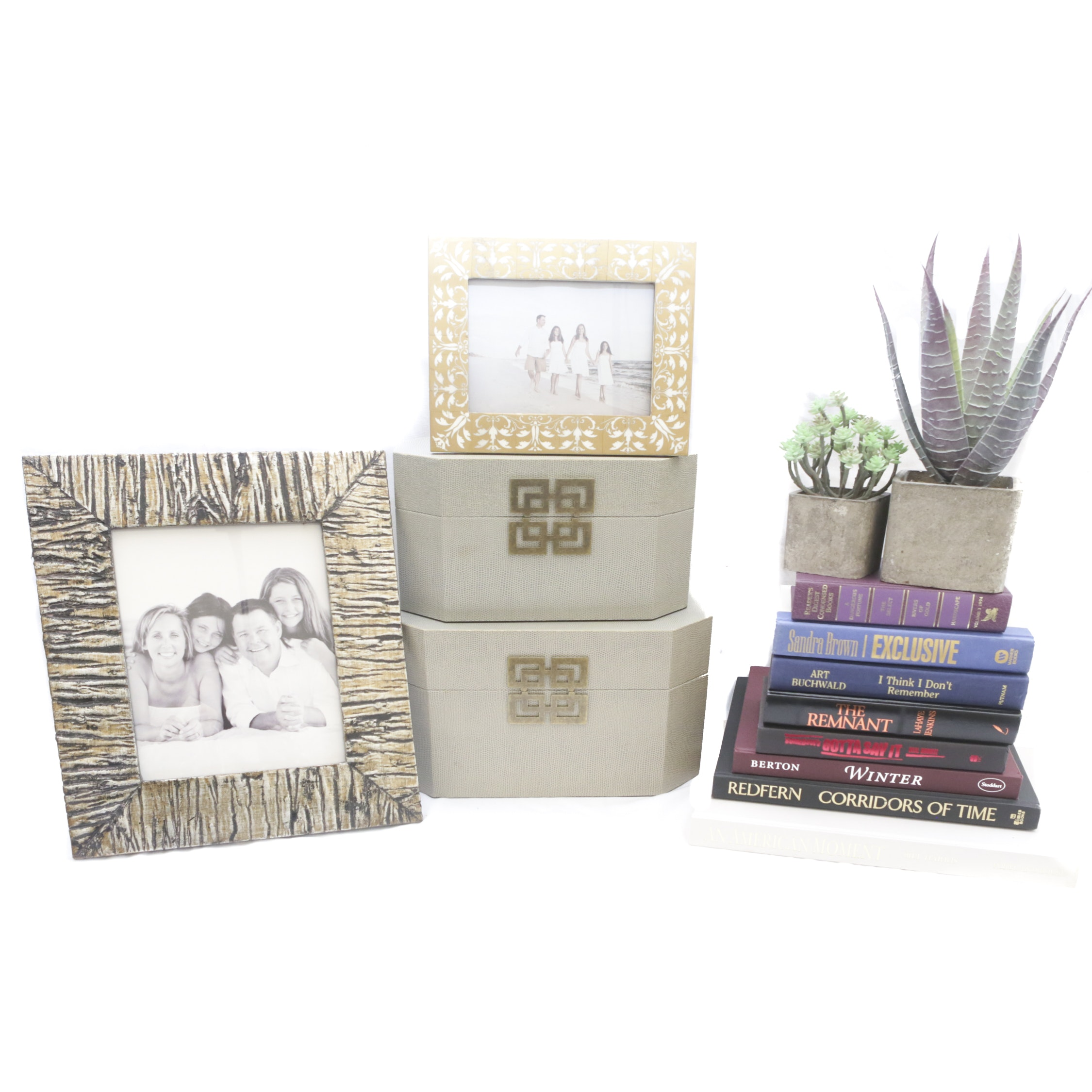 Picture Frames, Decorative Boxes, Faux Succulents and Books