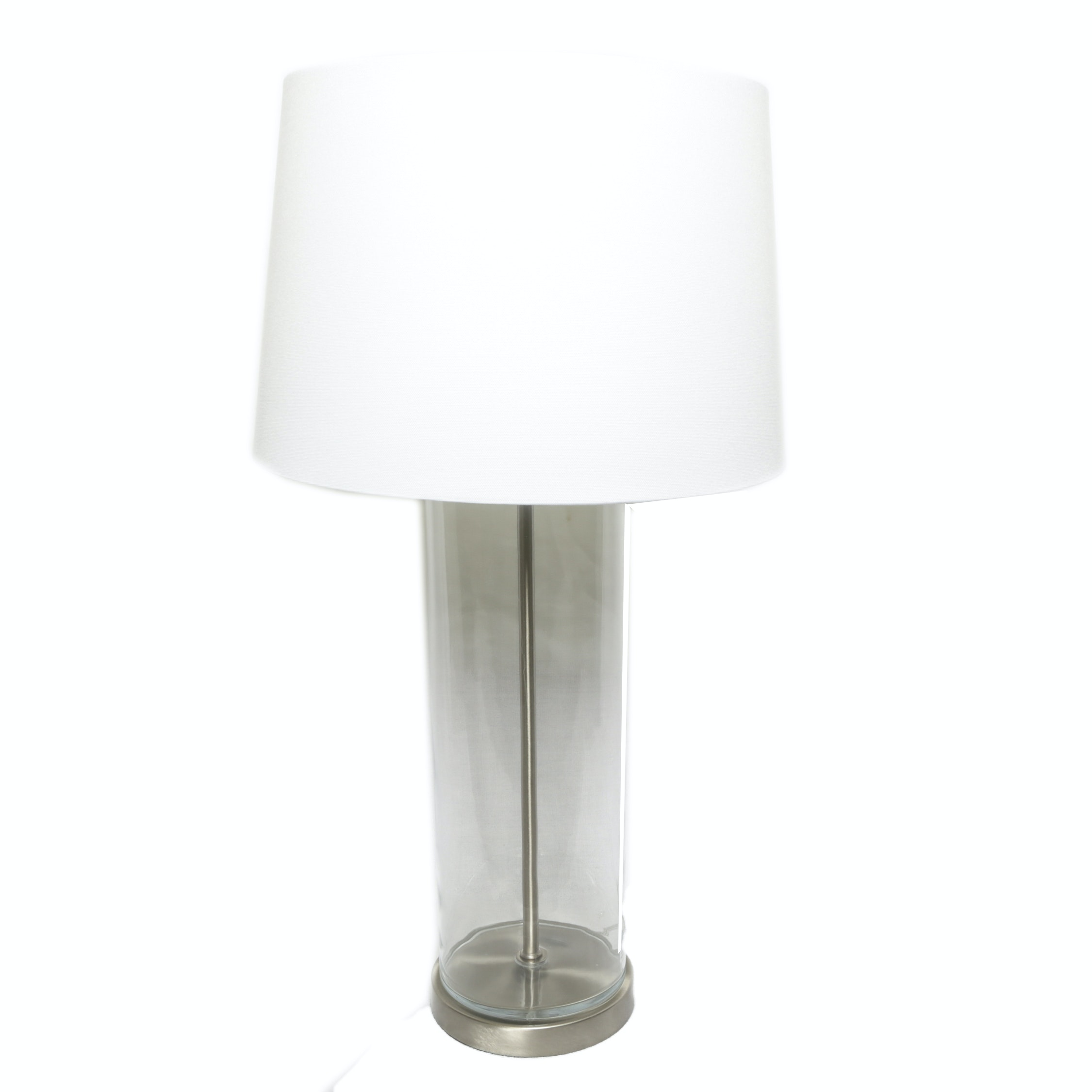 Cylindrical Glass and Silver Tone Metal Table Lamp w/ White Fabric Covered Shade