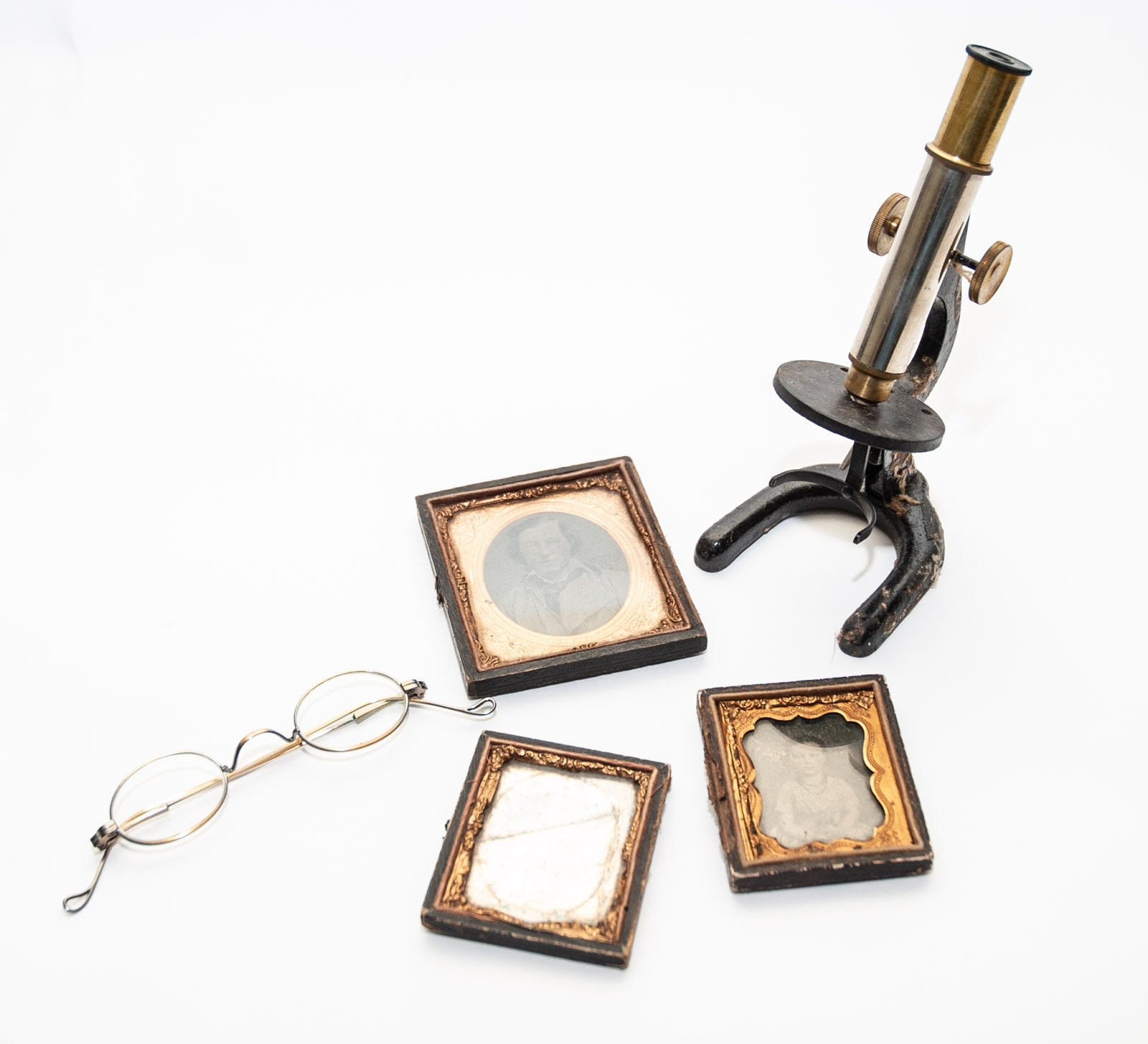 Antique Daguerreotypes, Gold Tone Eyeglasses and Microscope