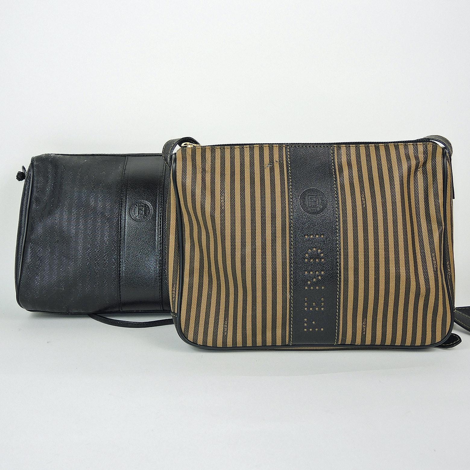 Fendi Striped Coated Canvas And Black Coated Canvas Purses