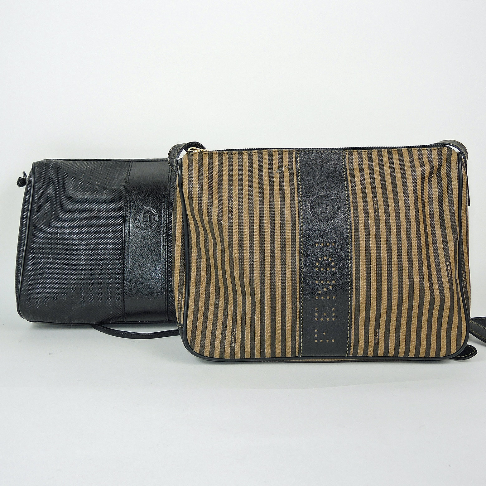 Fendi Striped Coated Canvas and Black Coated Canvas Purses