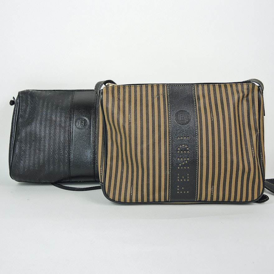 26b876bf1f41 Fendi Striped Coated Canvas and Black Coated Canvas Purses   EBTH