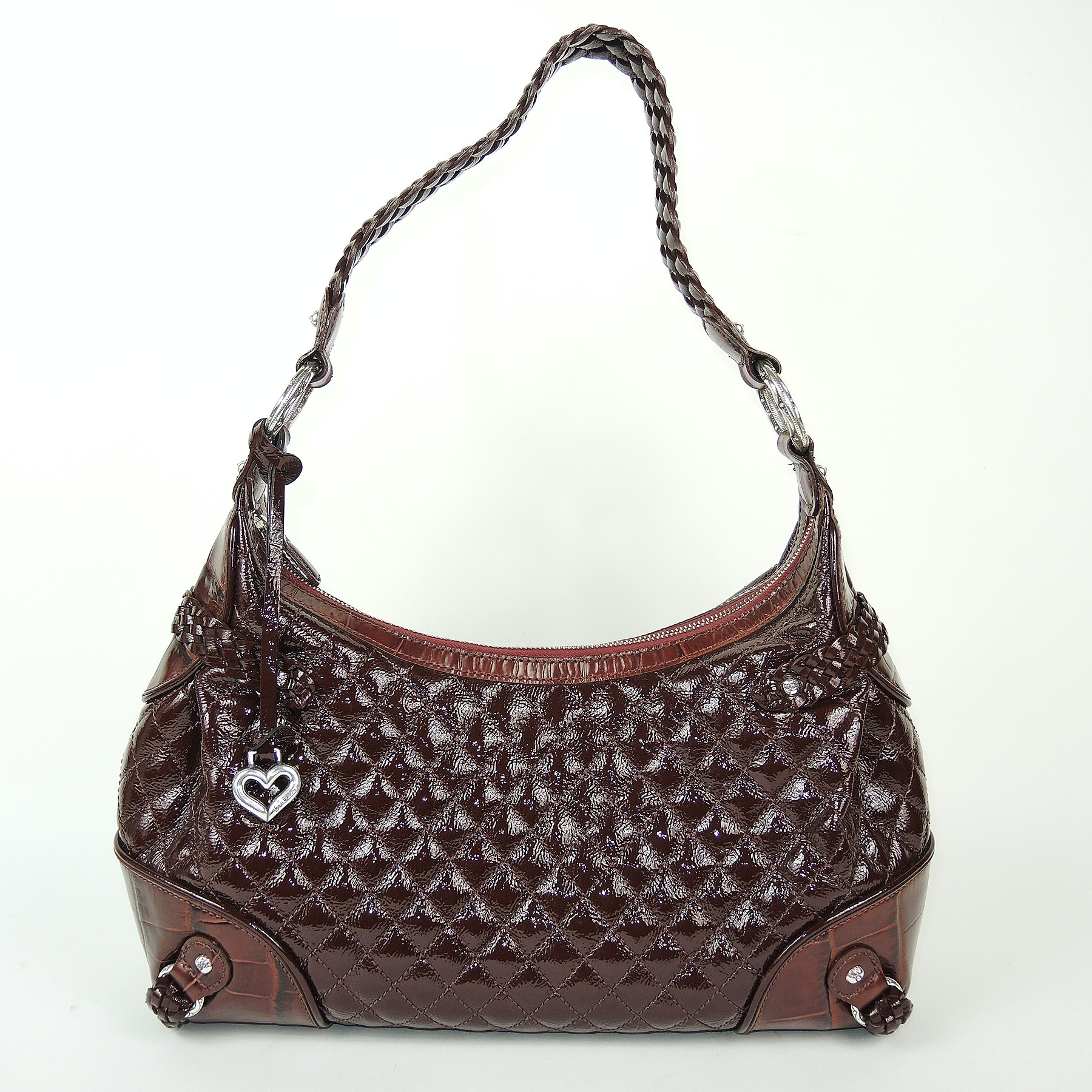 Brighton Quilted Brown and Embossed Leather Handbag