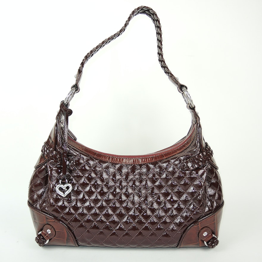 f8c0be29f995 Brighton Quilted Brown and Embossed Leather Handbag   EBTH