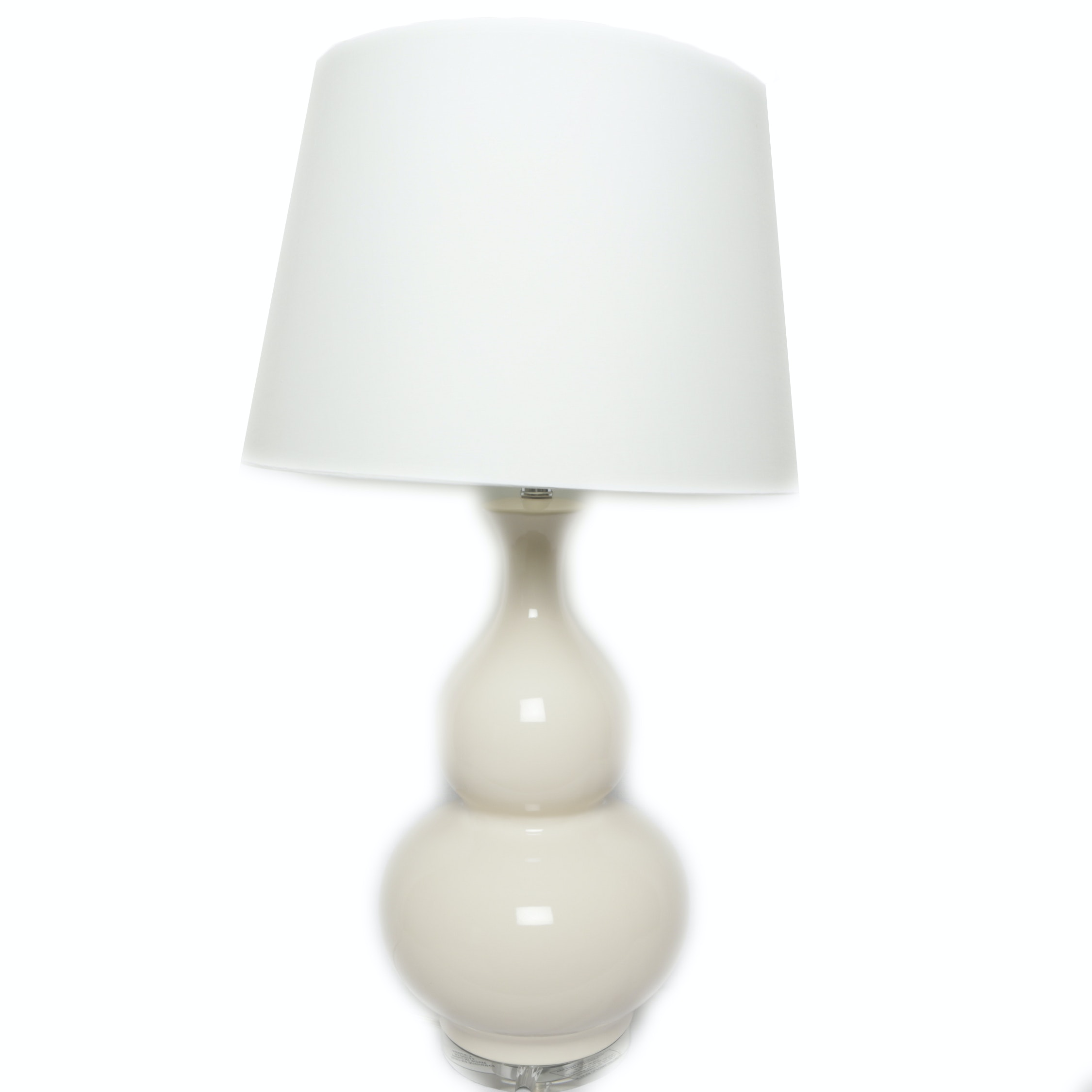 Tapered White Ceramic Table Lamp with Fabric Covered Drum Shade