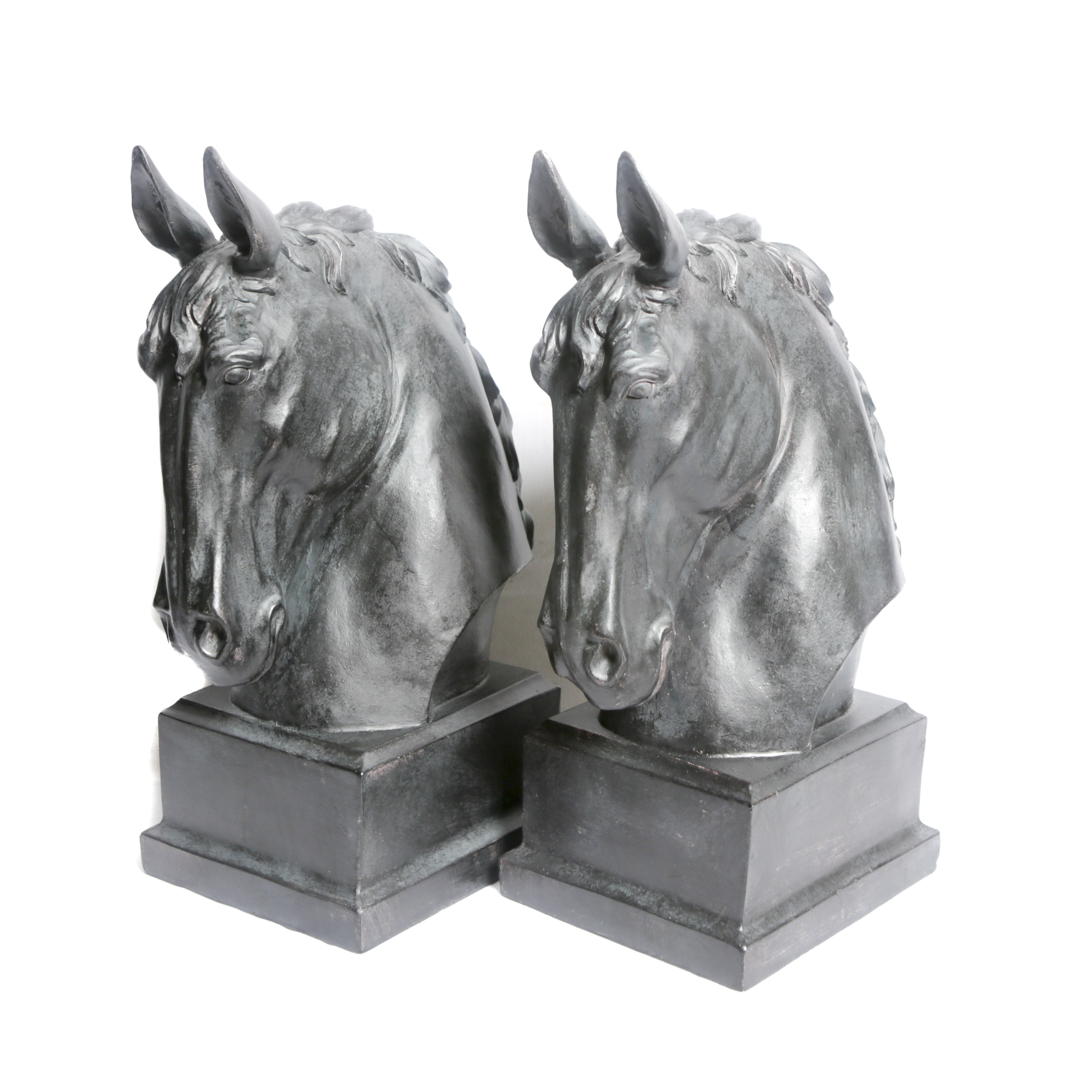 Matched Black Finish Resin Horse Head Statuettes with Verdigris Wash