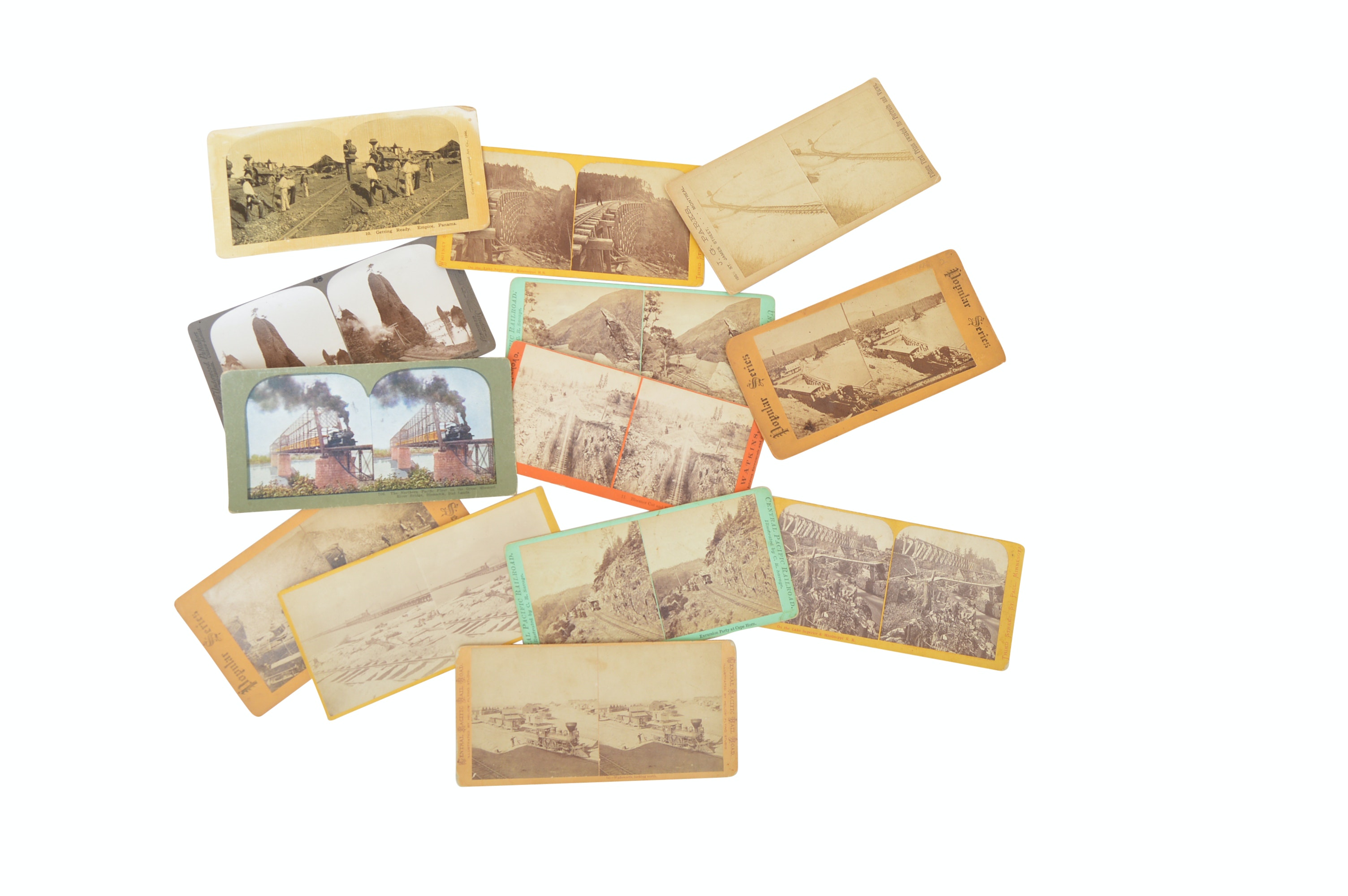 13 Early 20th Century Stereoscopic Cards with Western and Railway Themes
