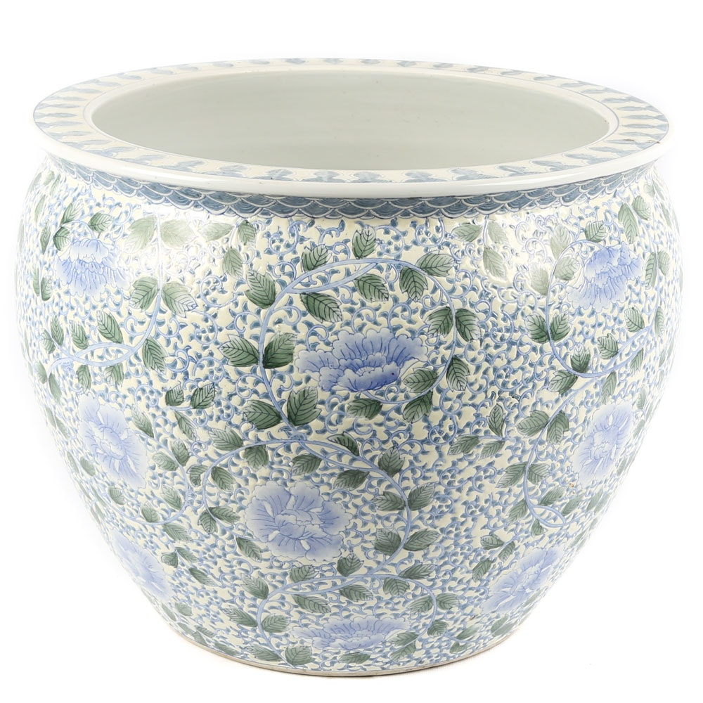 Chinese Ceramic Fish Bowl Planter