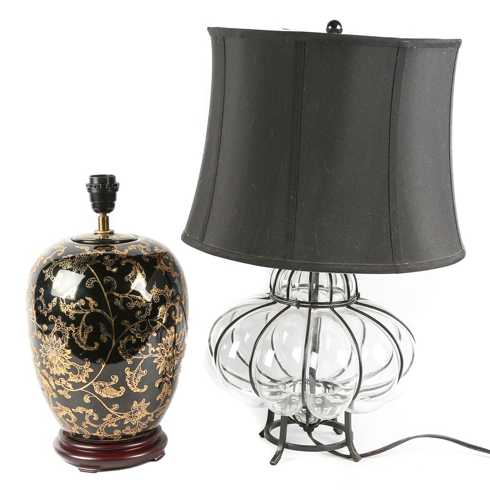 Contemporary Glass and Ceramic Table Lamps