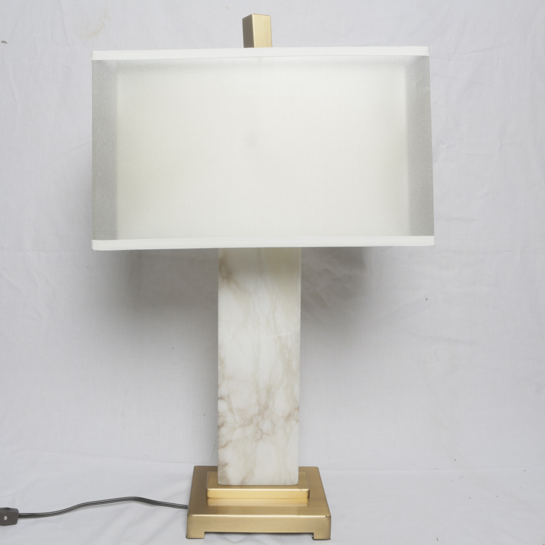 Contemporary Columnar Table Lamp with Gold Tone Finial and Base including Shade