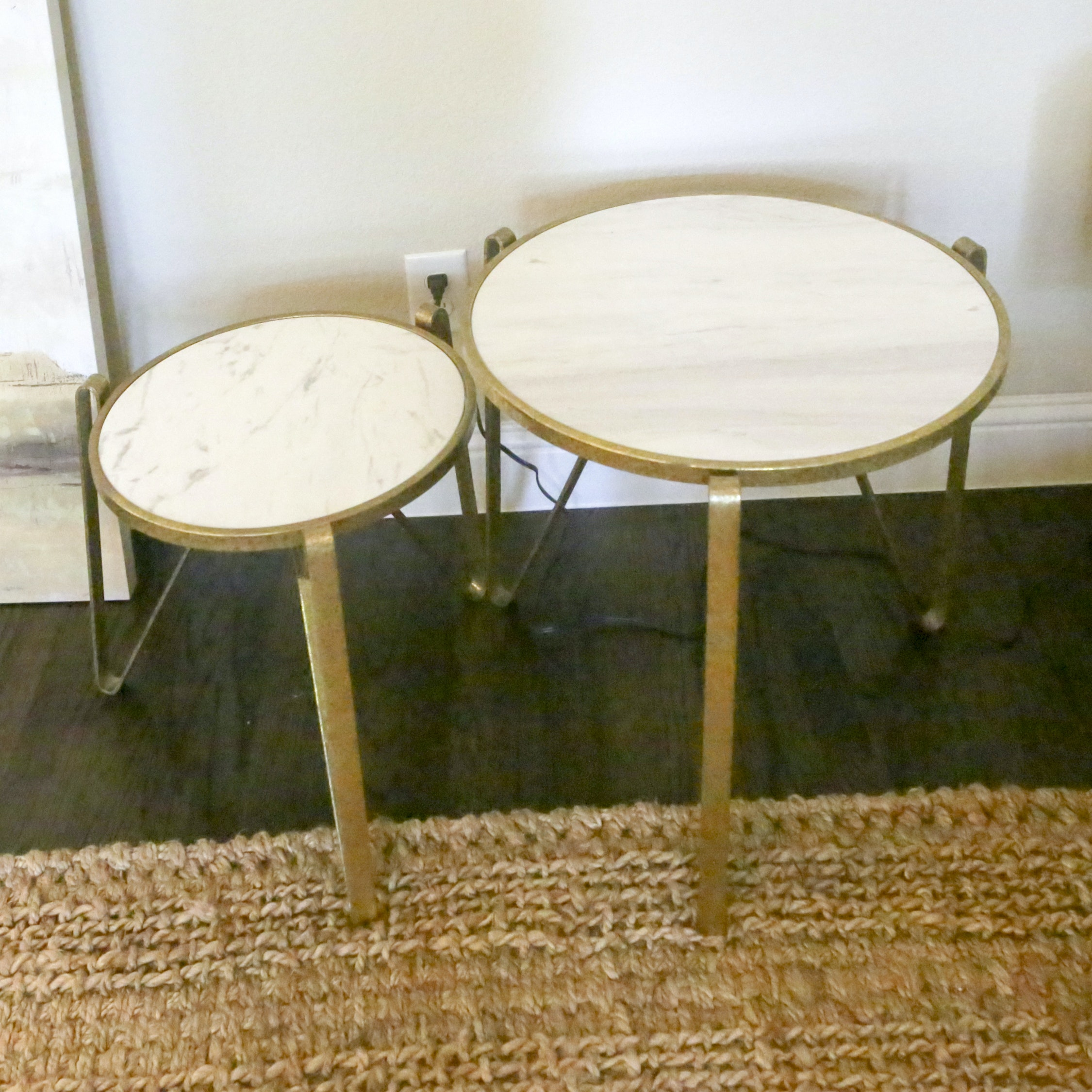 Contemporary Metal and Stone Accent Tables