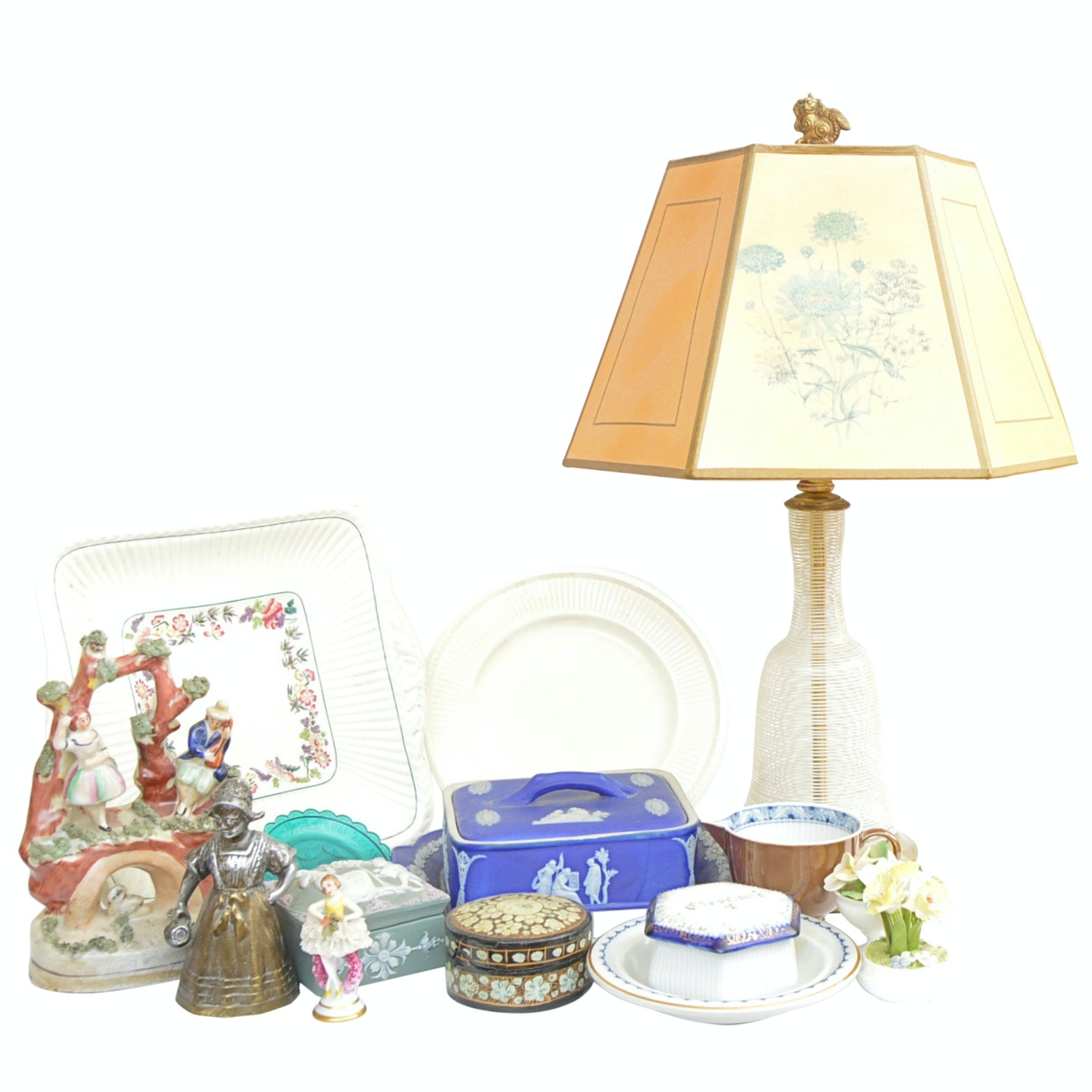 Antique and Vintage Decor including Wedgwood, Staffordshire and Glass Lamp