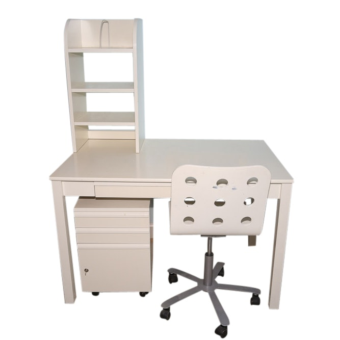 Contemporary White Desk with Rolling Chair, Three-Drawer File Cabinet, and Hutch