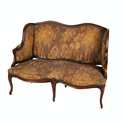 Louis XV Style Carved Mahogany Settee, Late 19th to Early 20th Century