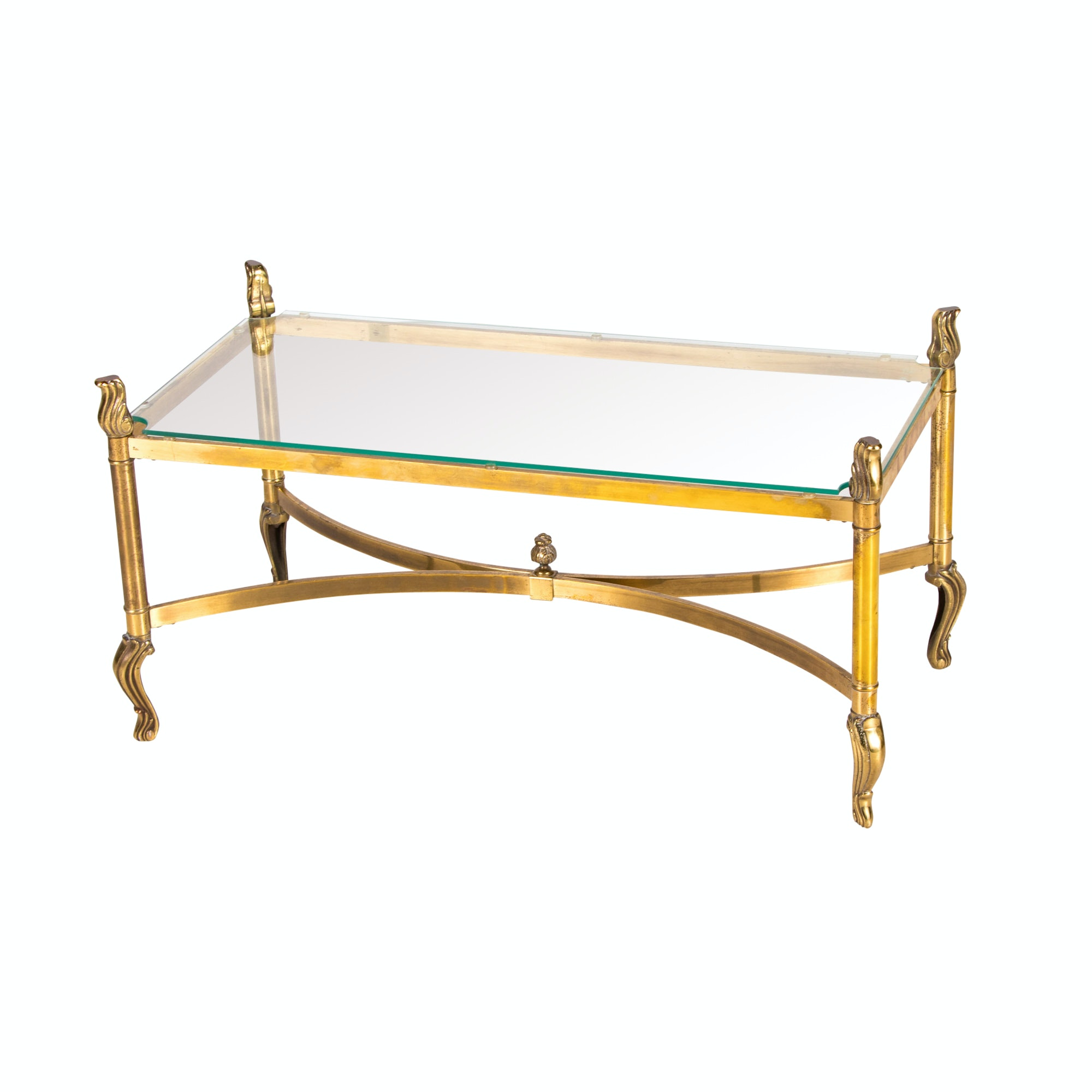 Brass Glass Top Coffee Table in the Style of La Barge, 20th Century
