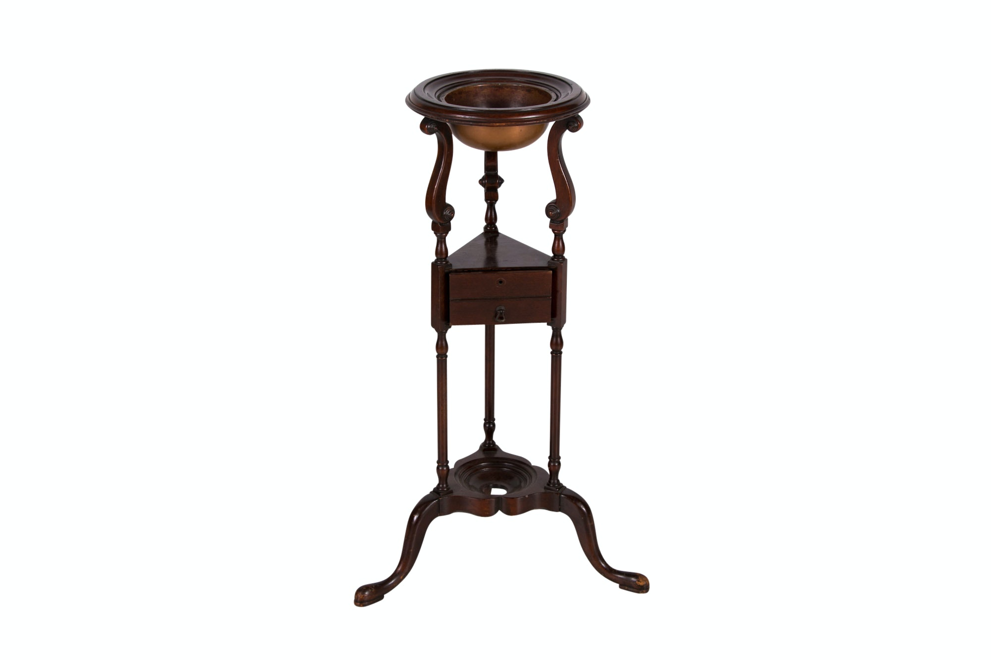 George III Style Mahogany and Copper-Fitted Washstand by Fine Arts Furniture Co.