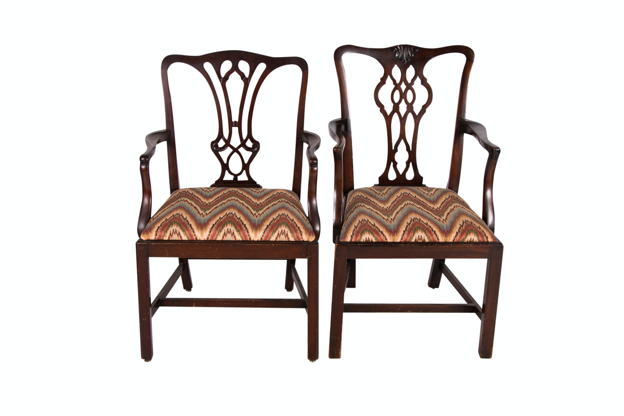 Two George III Style Mahogany Open Armchairs, One by Hathaway's NY, 20th Century