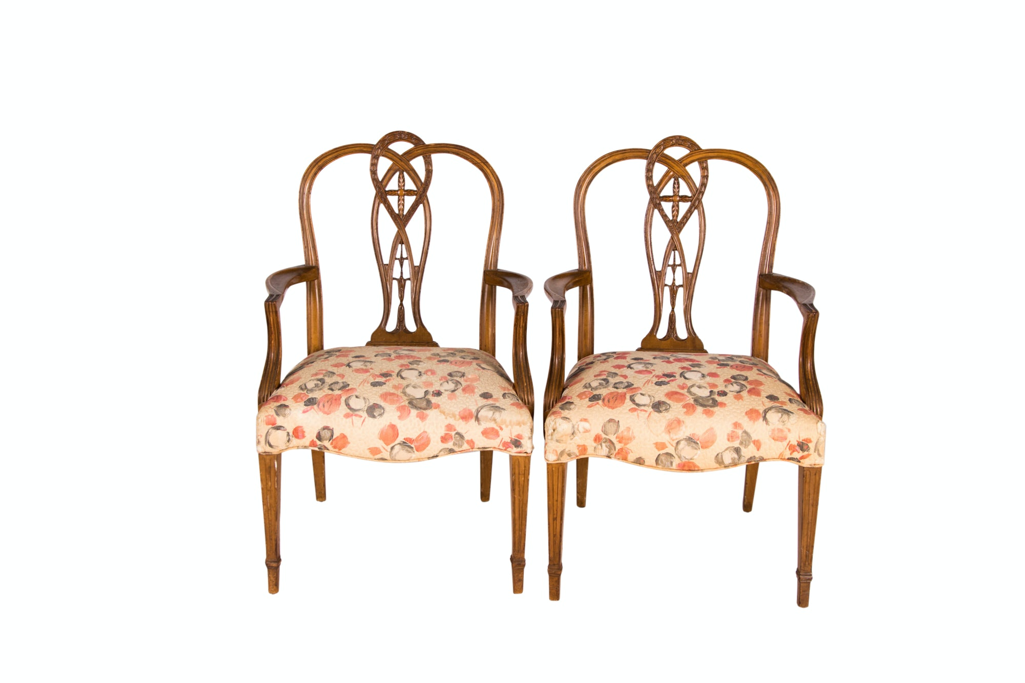 Pair of George III Style Carved Mahogany Open Armchairs, 20th Century