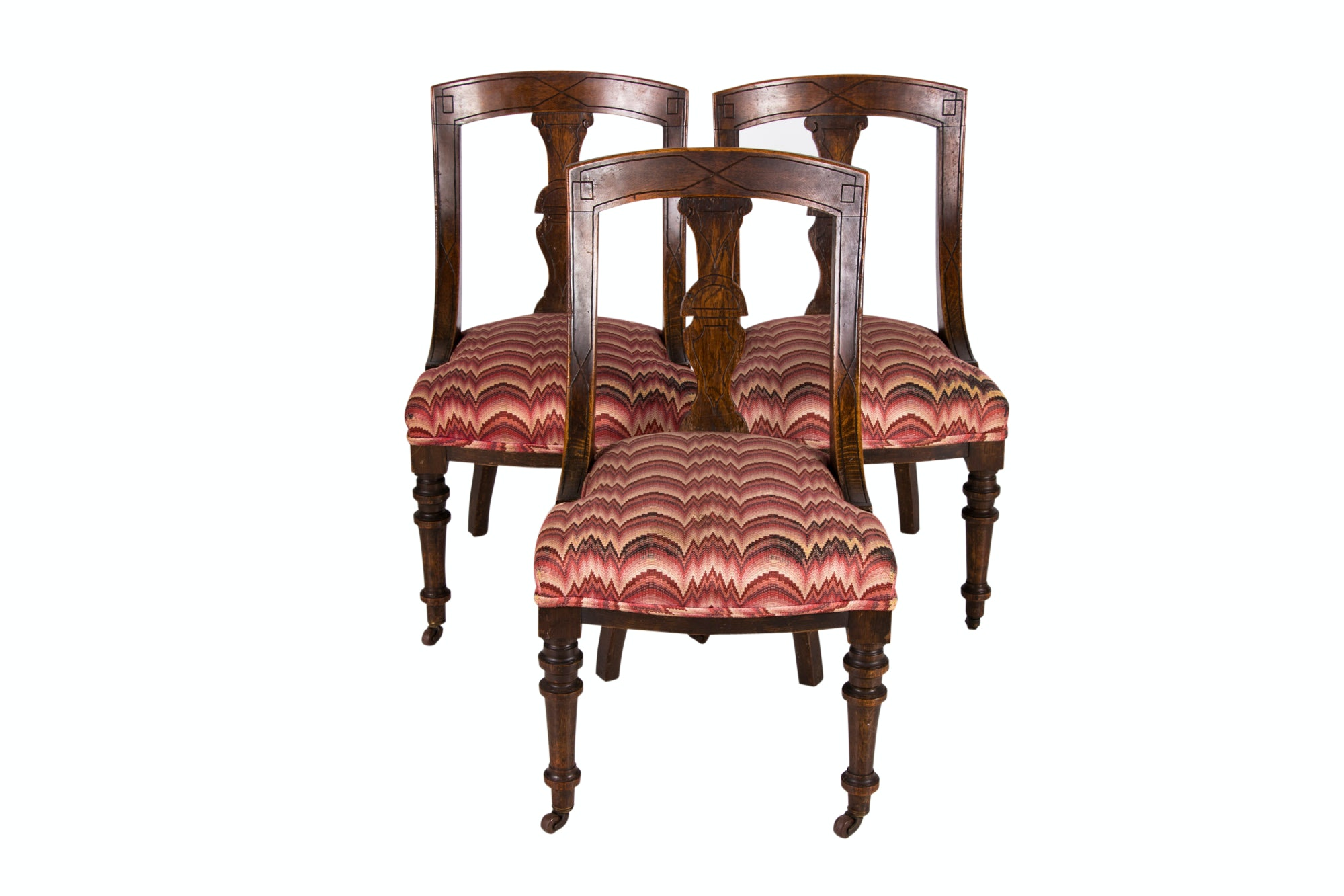 Three Victorian Carved Oak Dining Side Chairs, Circa 1870