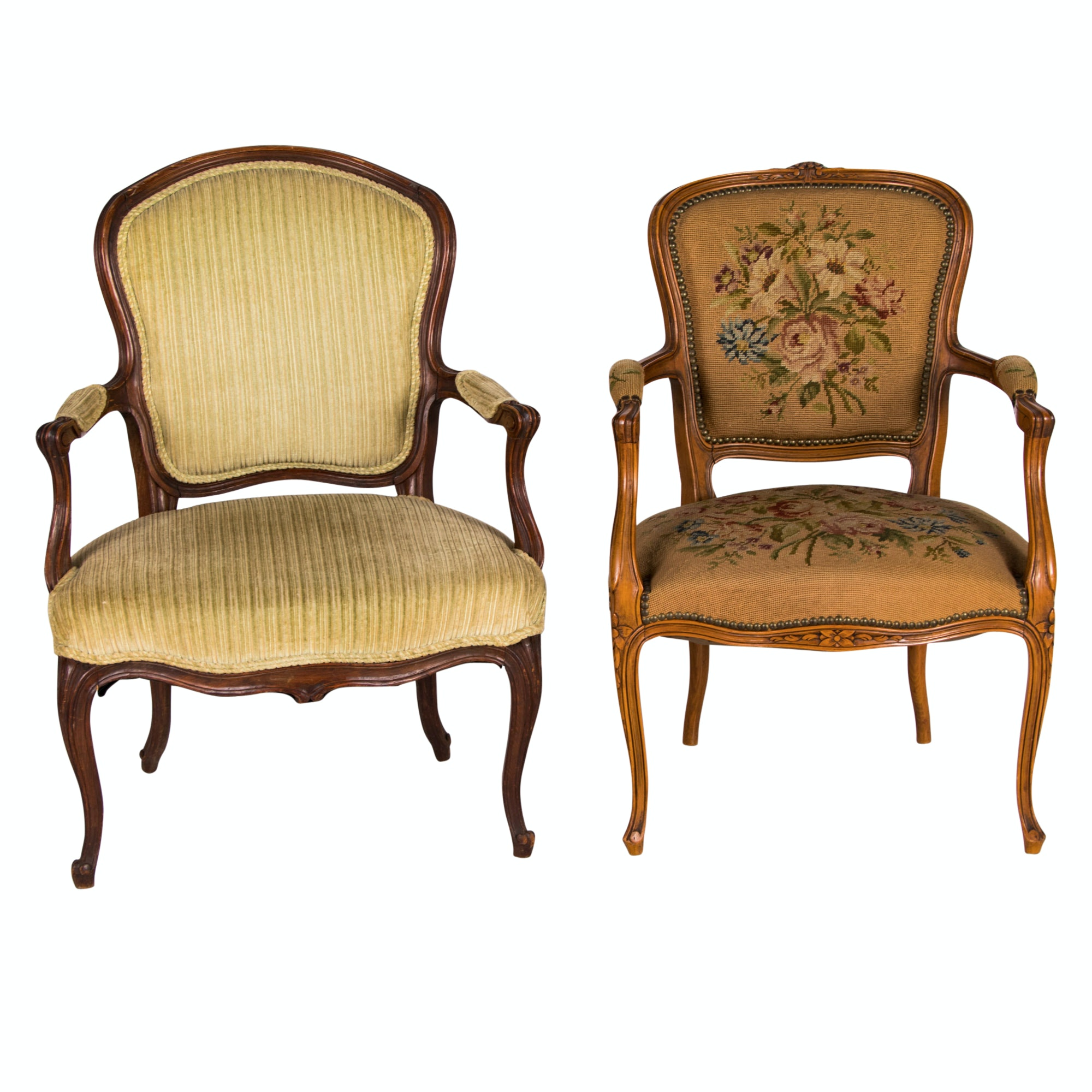 Two Louis XV Style Carved Beech Fauteuils, Late 19th/ Early 20th Century