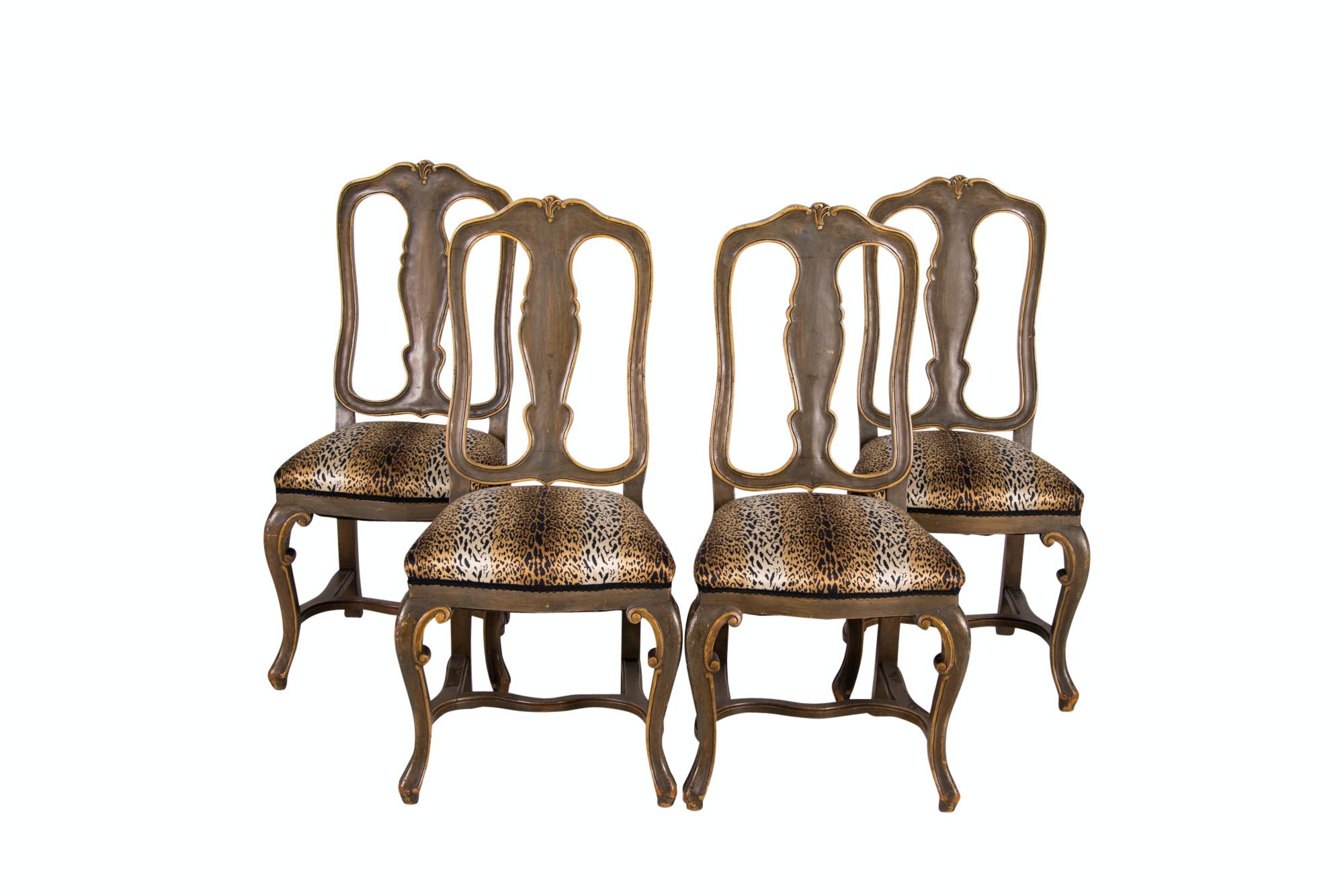 Four Italian Painted Dining Chairs, 20th Century
