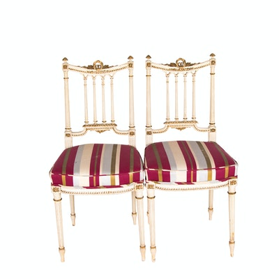 Pair of Neoclassical Style Cream-Painted and Parcel-Gilt Side Chairs, Circa 1900
