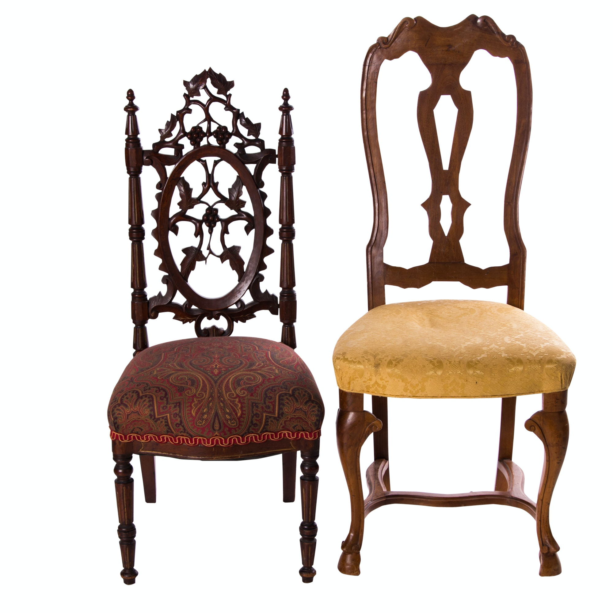 Victorian Mahogany Side Chair, Circa 1880, and Vintage Italian Walnut Side Chair