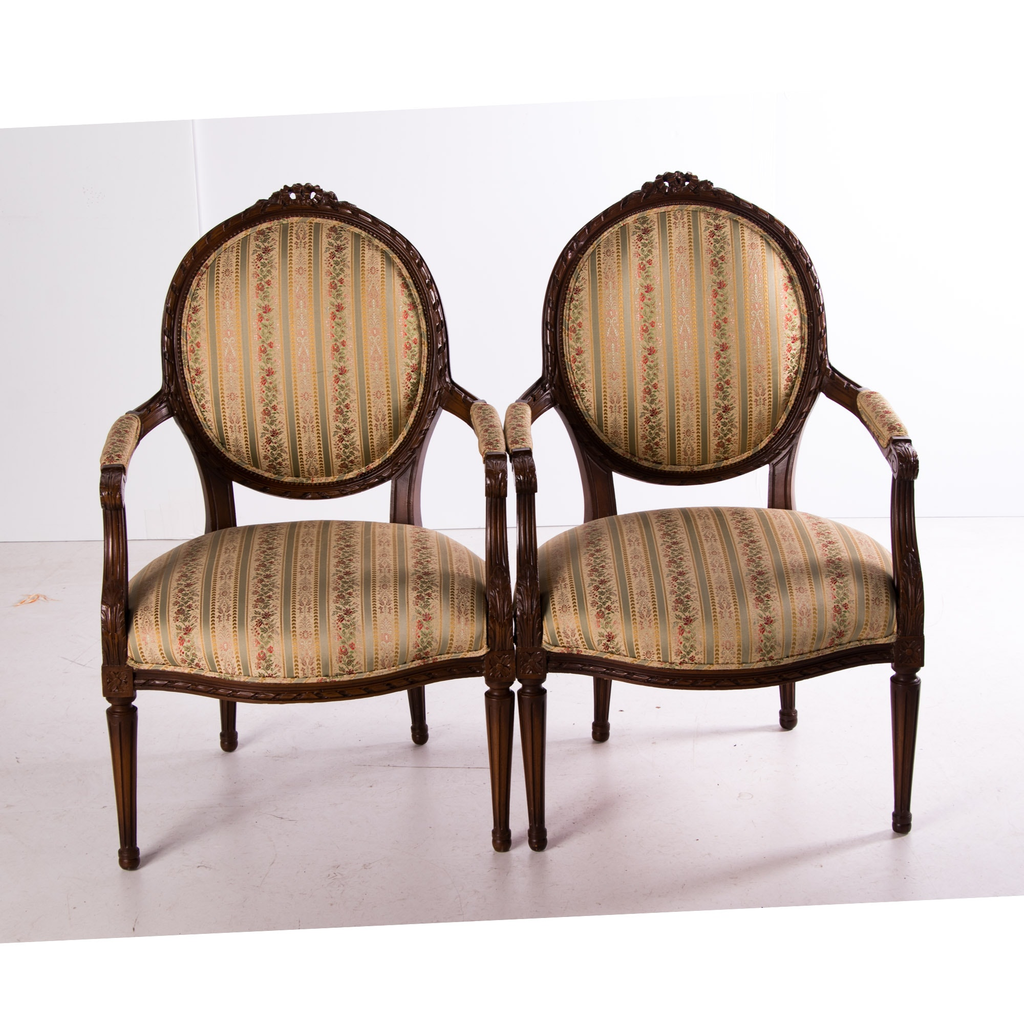 Pair of Louis XVI Style Carved Beech Fauteuils, Early 20th Century