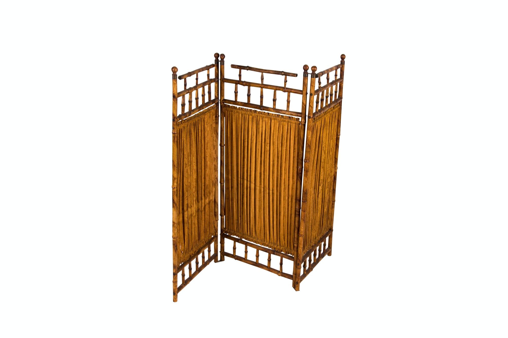 Victorian Brass-Mounted Bamboo Three-Panel Screen, Circa 1890