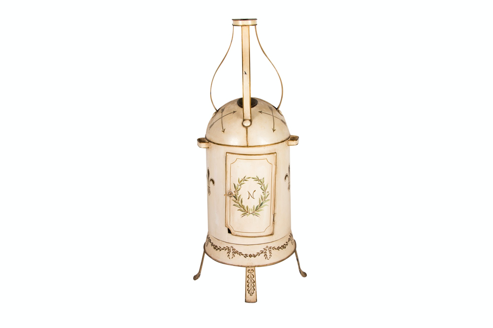 Neoclassical Style Tole-Painted and Parcel-Gilt Ornamental Stove, 20th Century