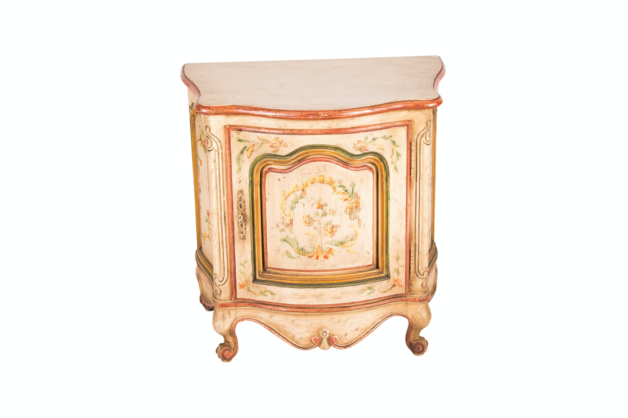 Rococo Style Paint-Decorated Bedside Commode by Heritage, 20th Century