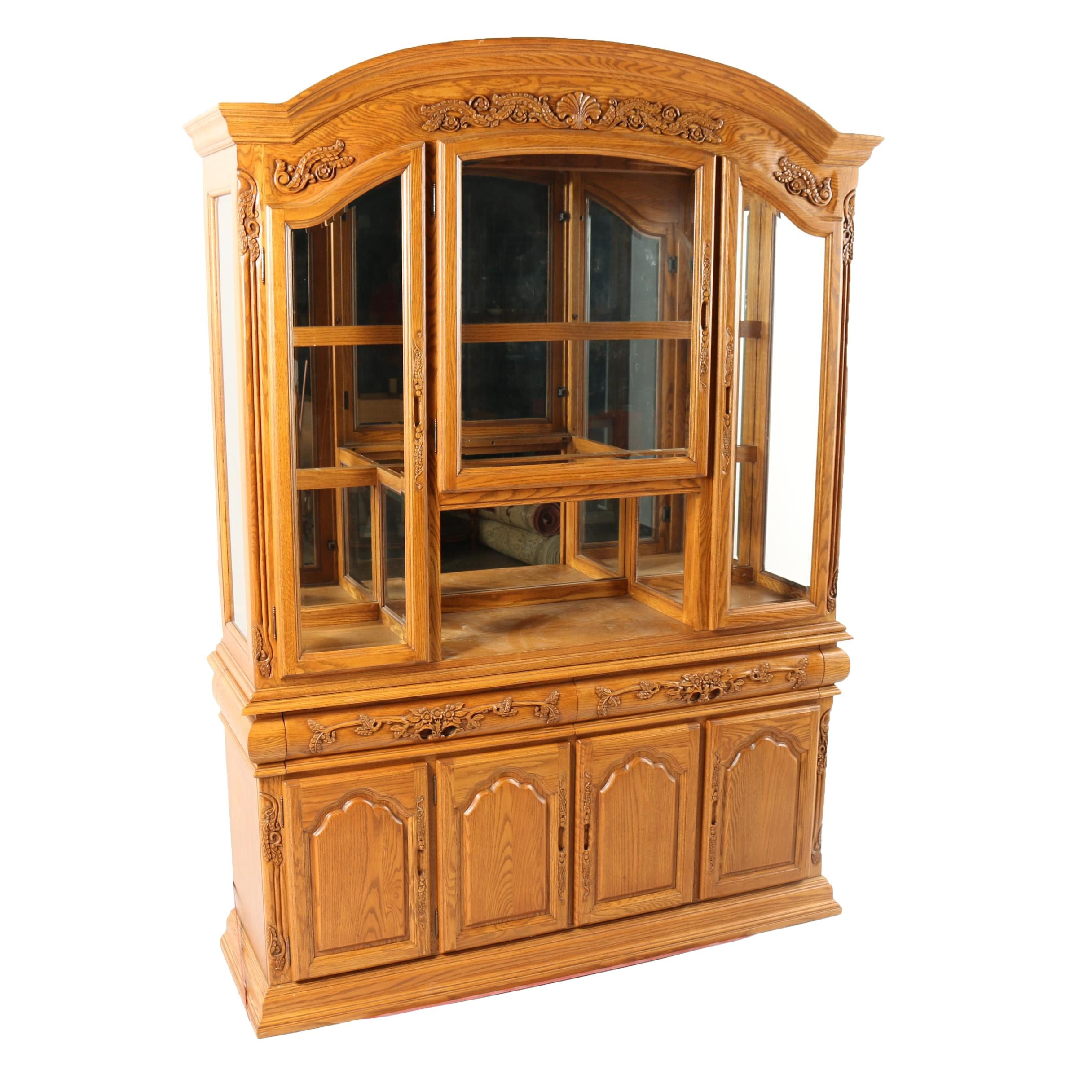 Queen Anne Style Oak Illuminated China Cabinet