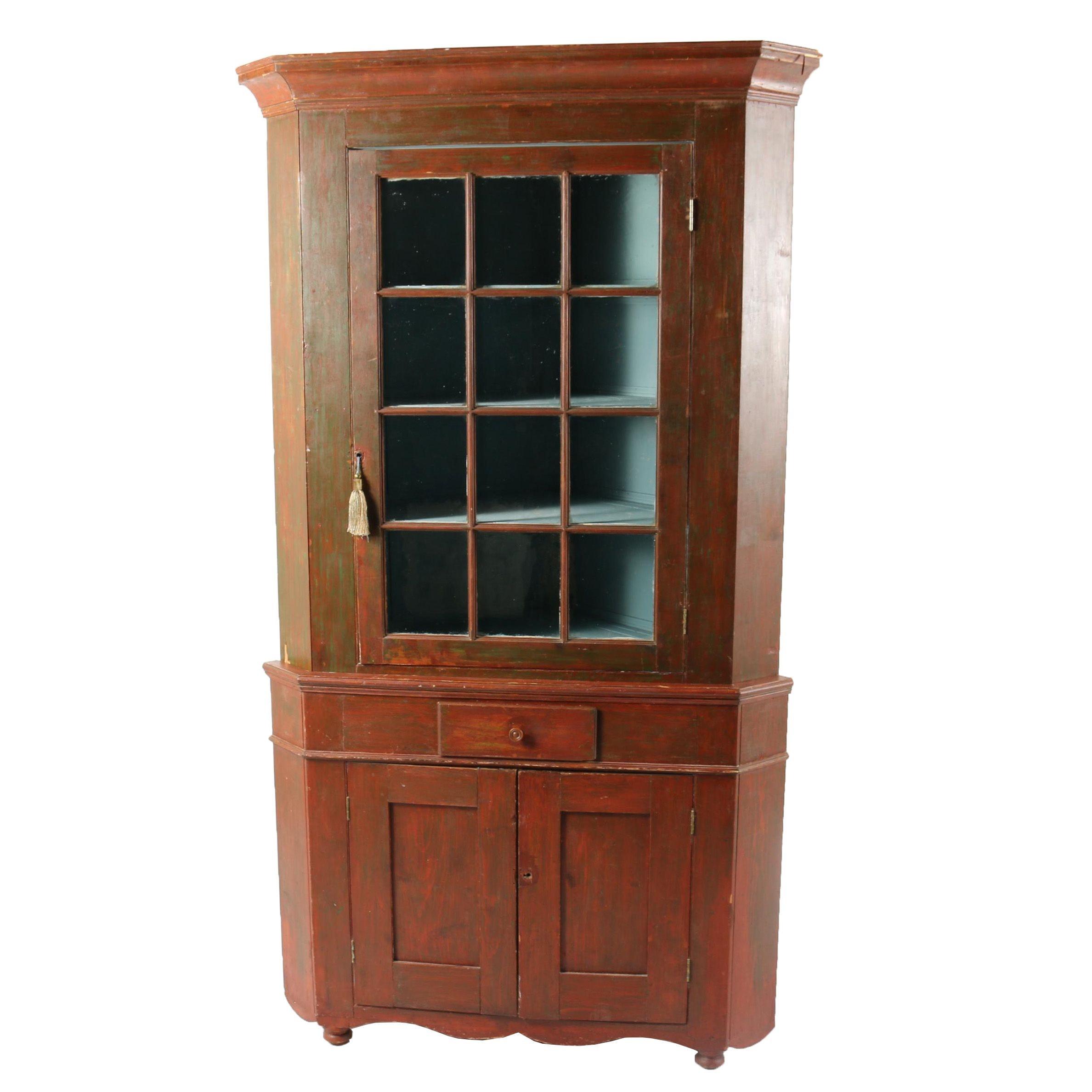 Vintage Painted Corner China Cabinet
