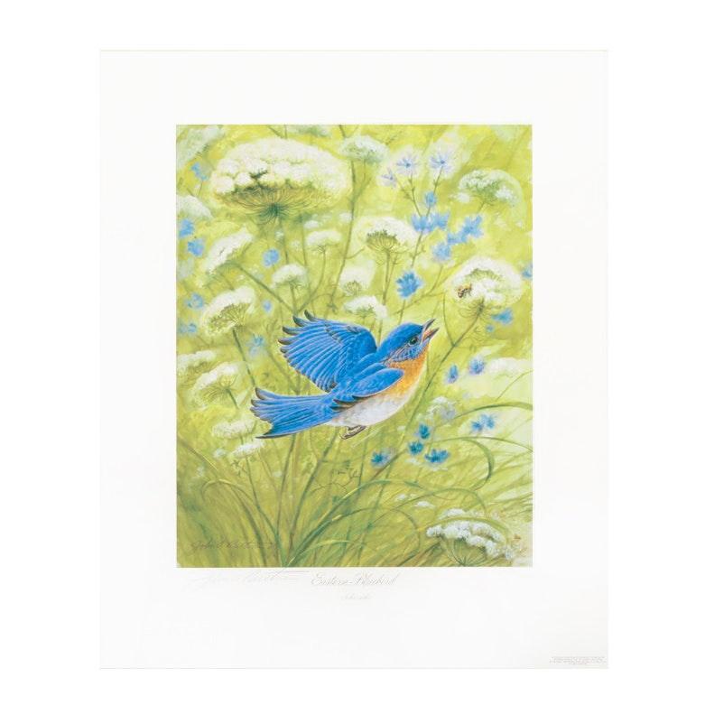 """John Ruthven Limited Edition Offset Lithograph """"Eastern Bluebird"""""""