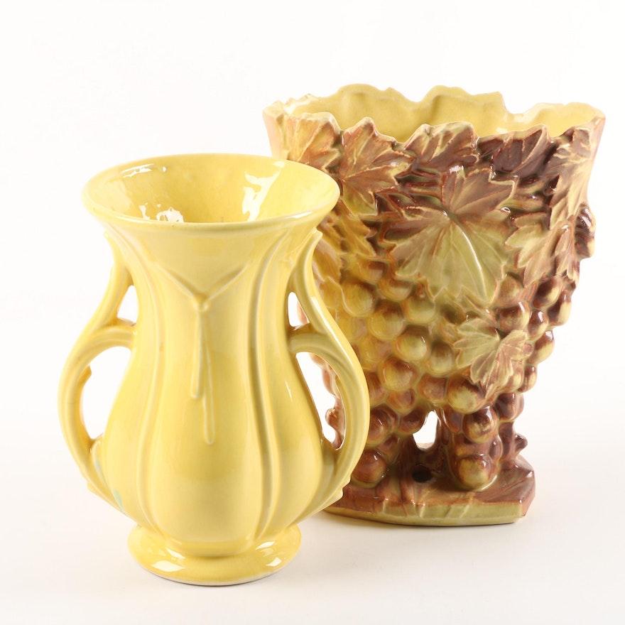 1940 50s Mccoy Pottery Grape Cluster And Tassel Vases Ebth