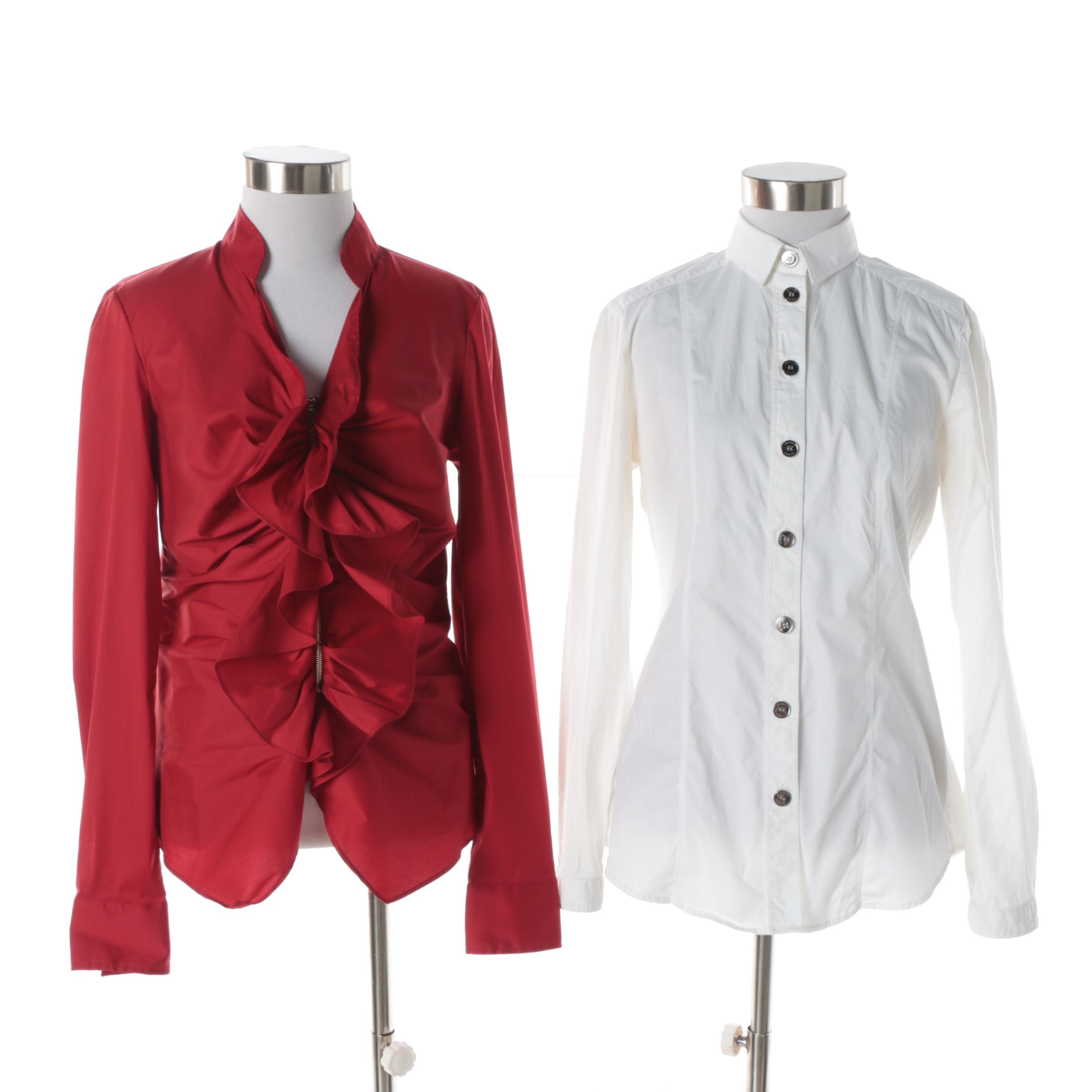 Women's Burberry London and Carolina Herrera Cotton Blend Blouses
