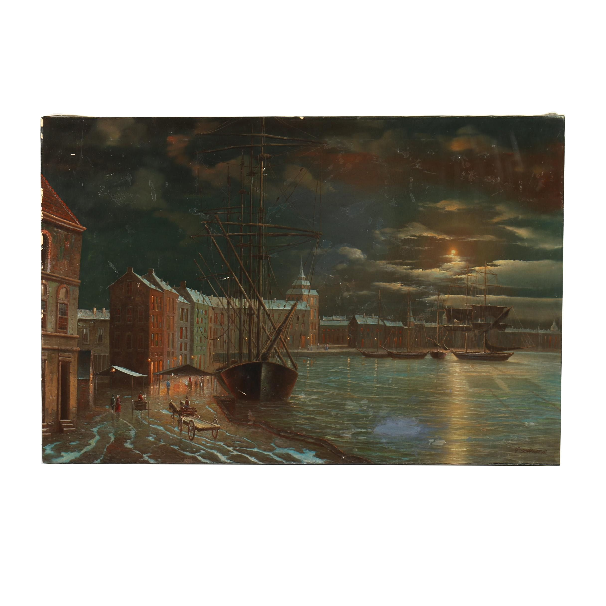 G. Schroter Oil Painting of Nighttime Waterfront Scene