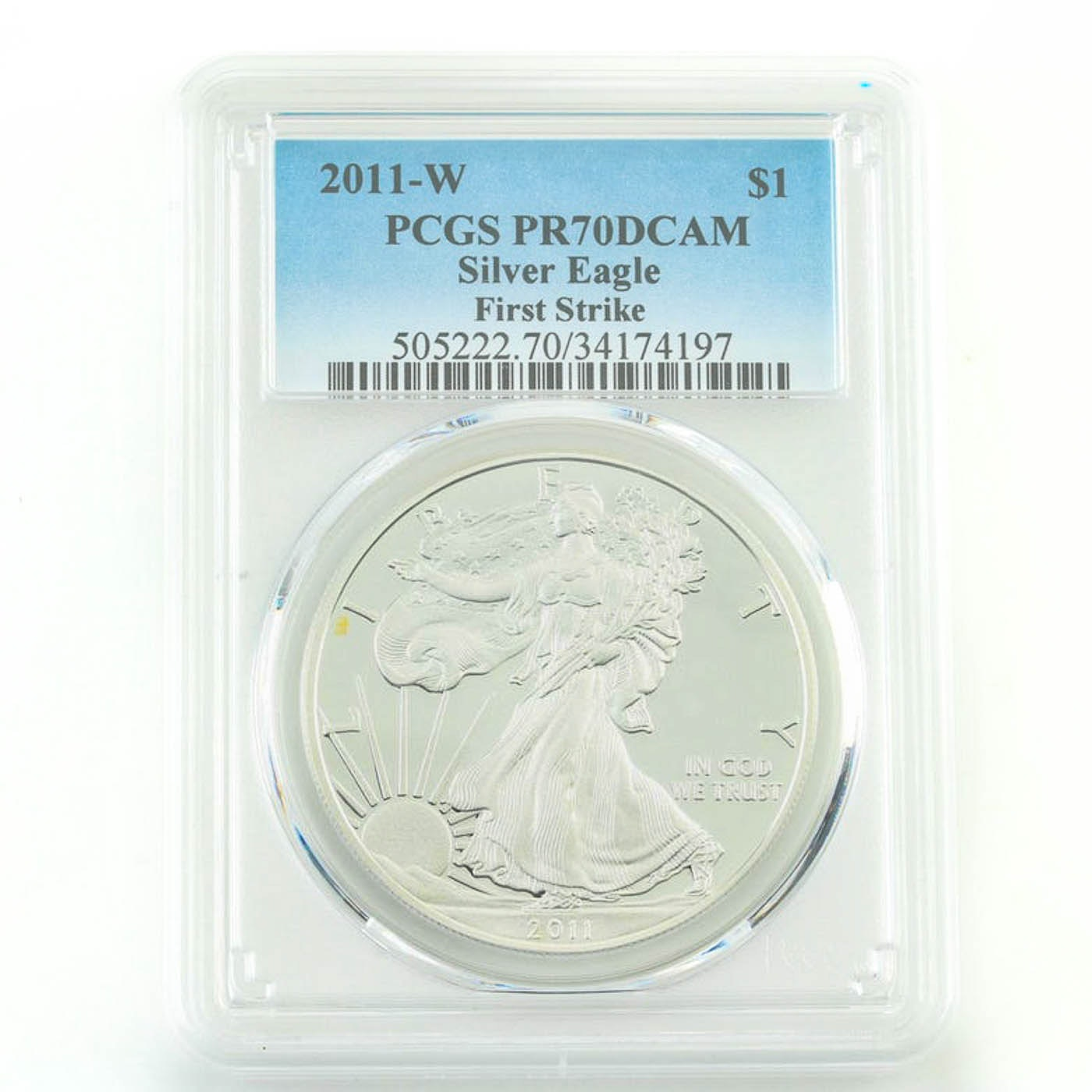 PCGS Graded PR70DCAM 2011-W Silver Eagle First Strike Bullion Coin