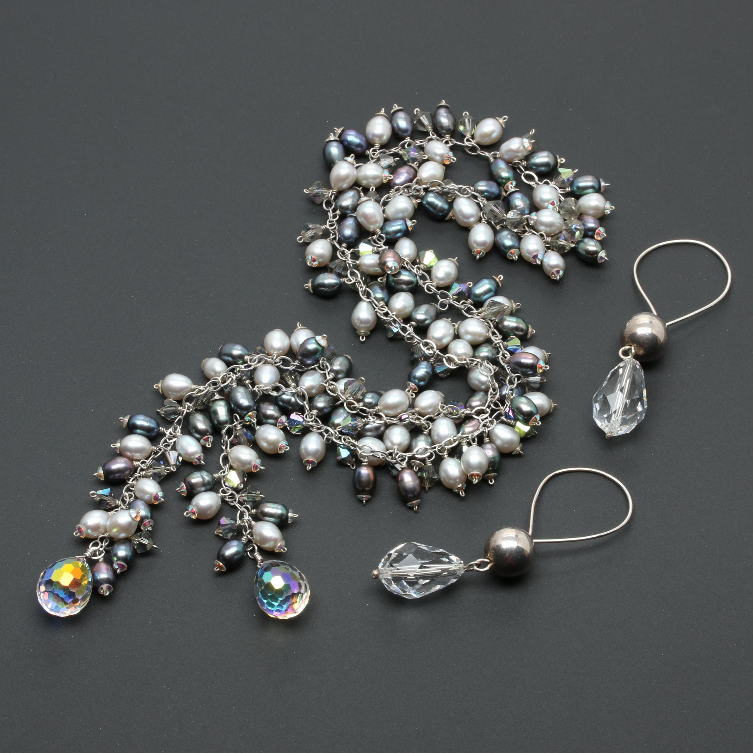 Sterling Silver Pearl and Aurora Borealis Sautoire Necklace and Glass Earrings