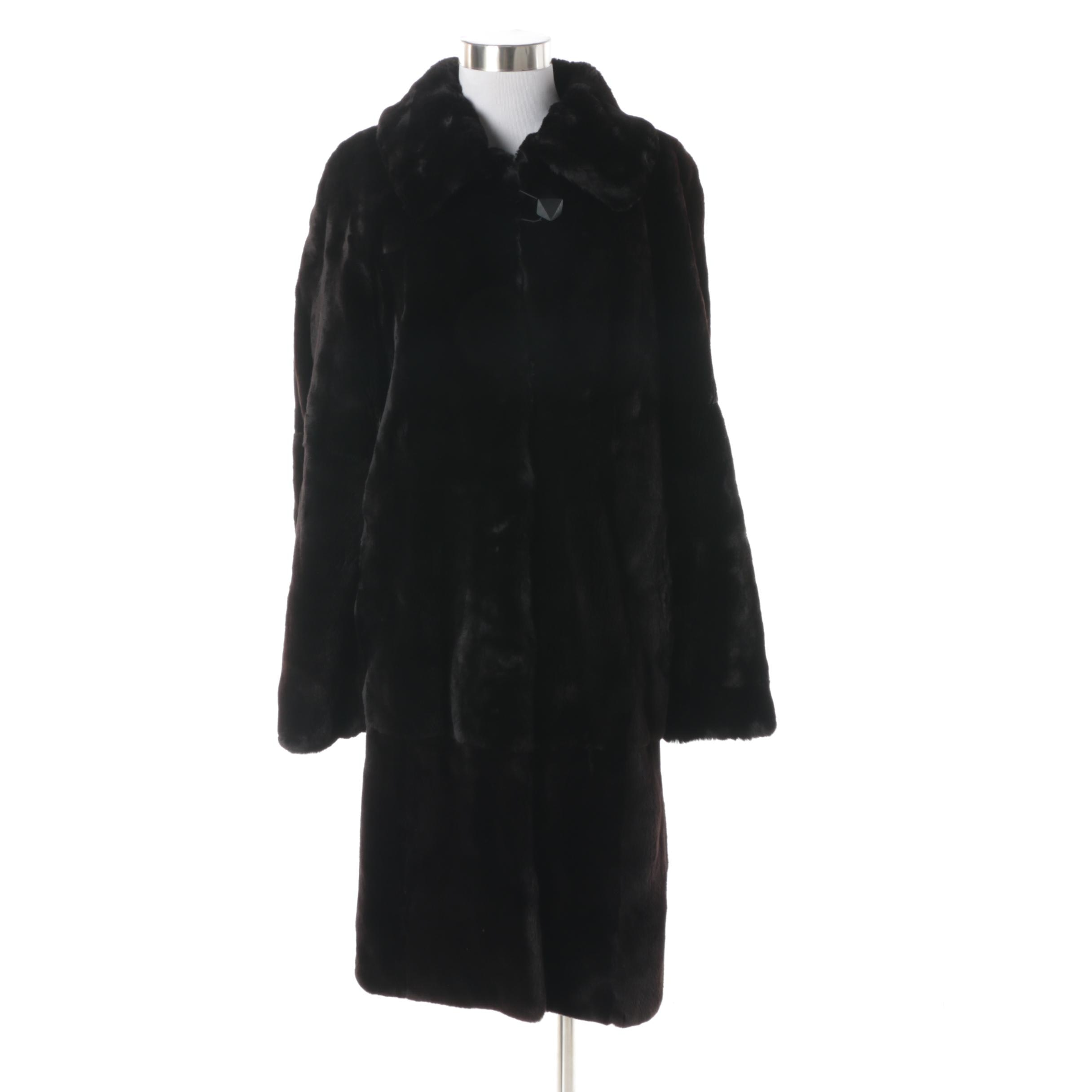 Women's Black Sheared Beaver Fur Coat